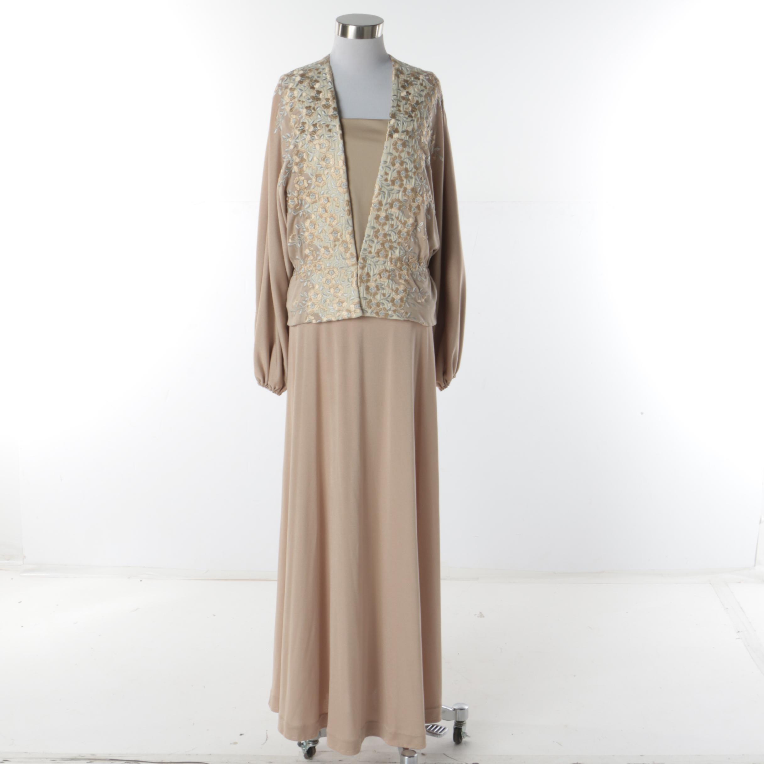 Women's Circa 1980s Vintage Anne Klein Beige Three-Piece Skirt Suit