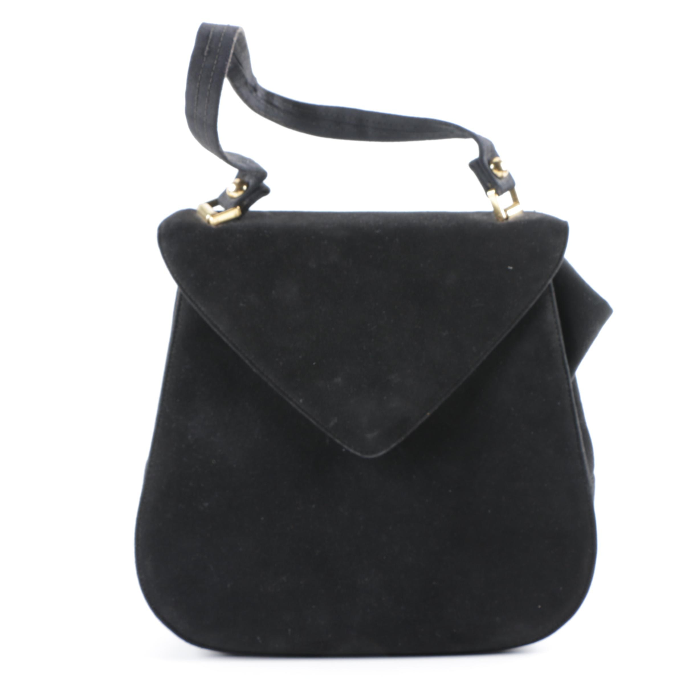 Vintage Lennox Black Suede Handbag with Fabric Strap and Satin Lining