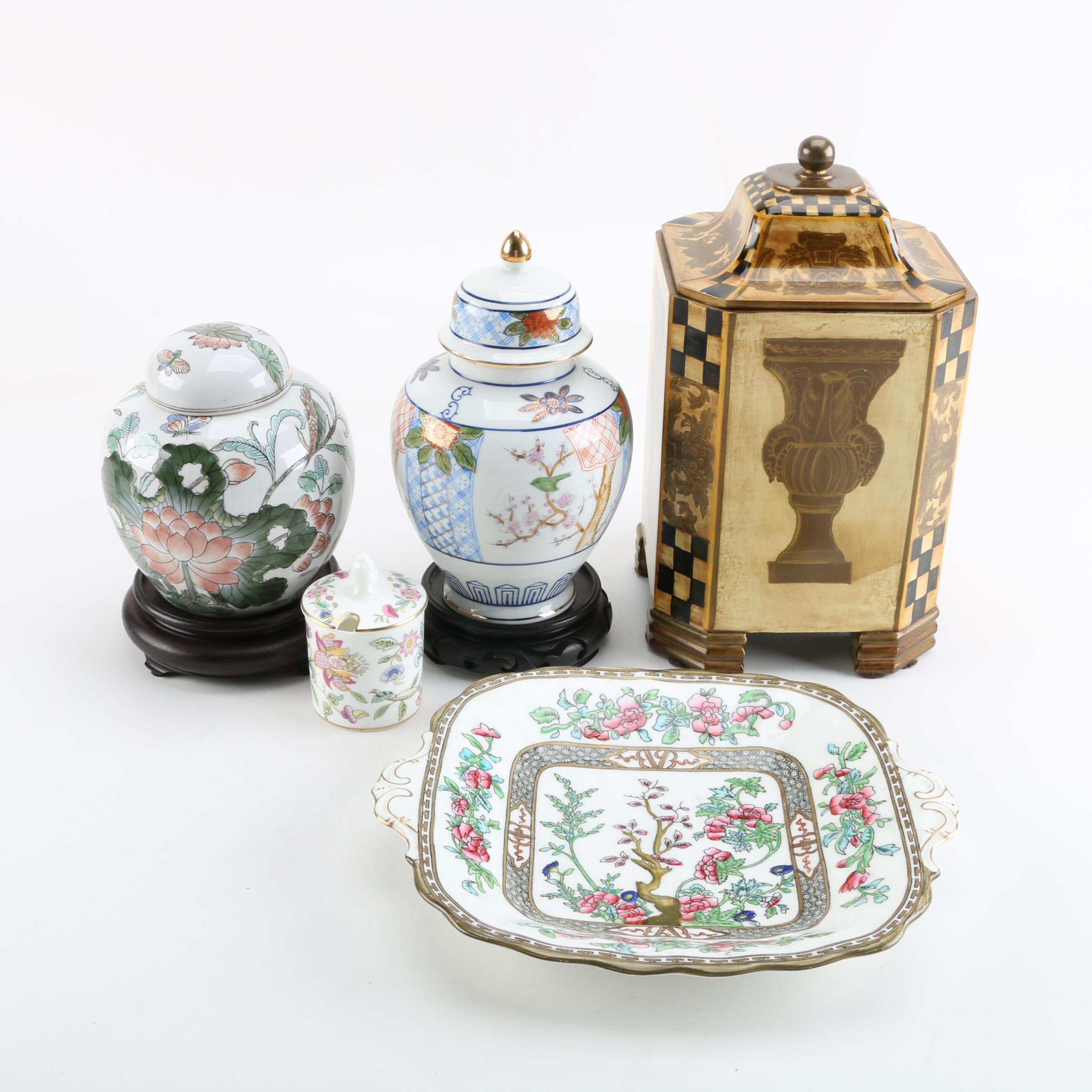 "Ginger Jars and Other Lidded Vessels with Coalport ""Indian Tree"" Cake Plate"