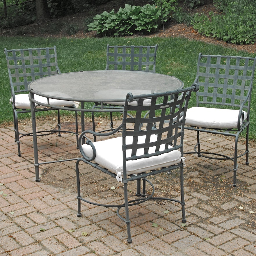 Brown Jordan Patio Set With Glass Top Table And Four Chairs Ebth