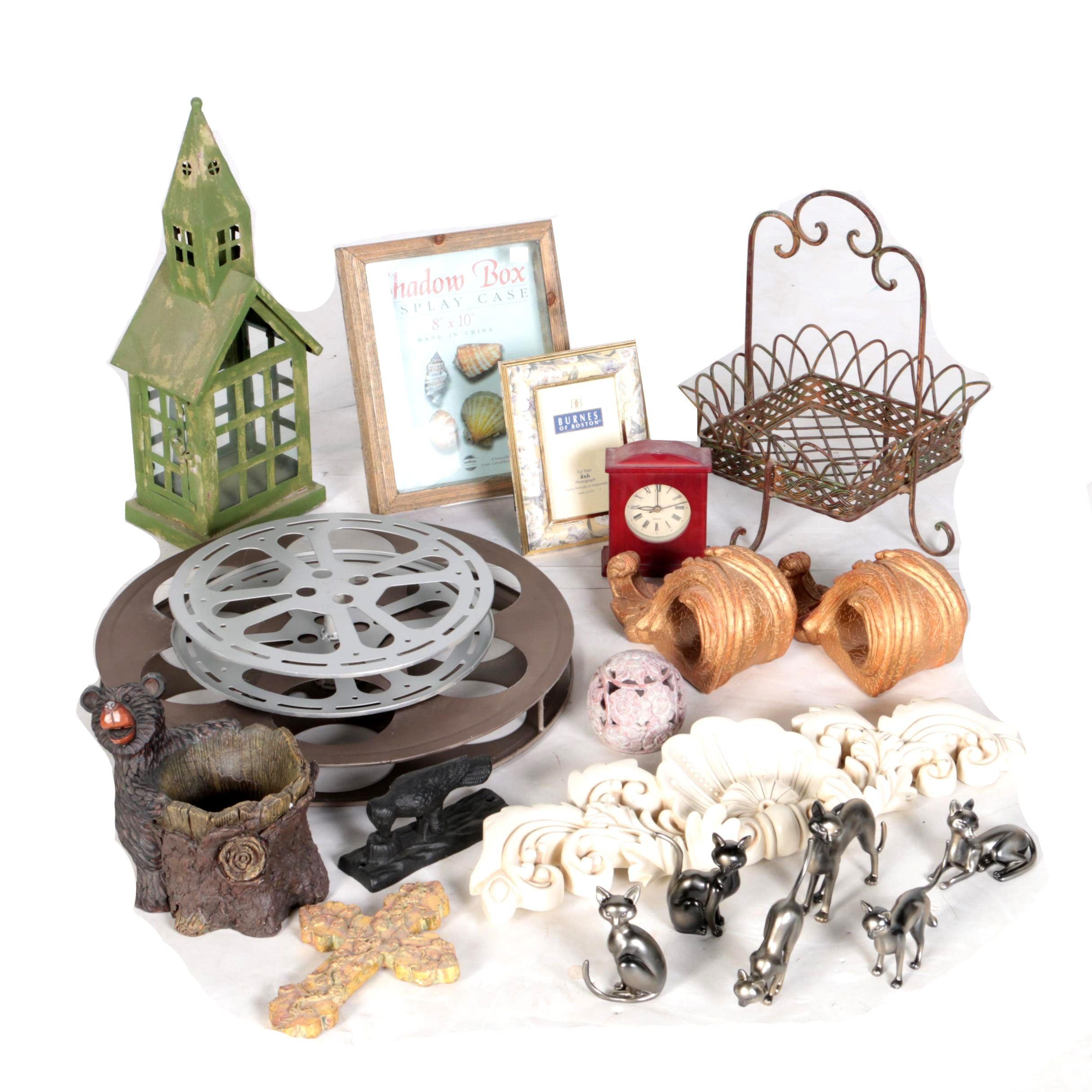 Assortment of Home Decor Items Including Siamese Cat Figurines
