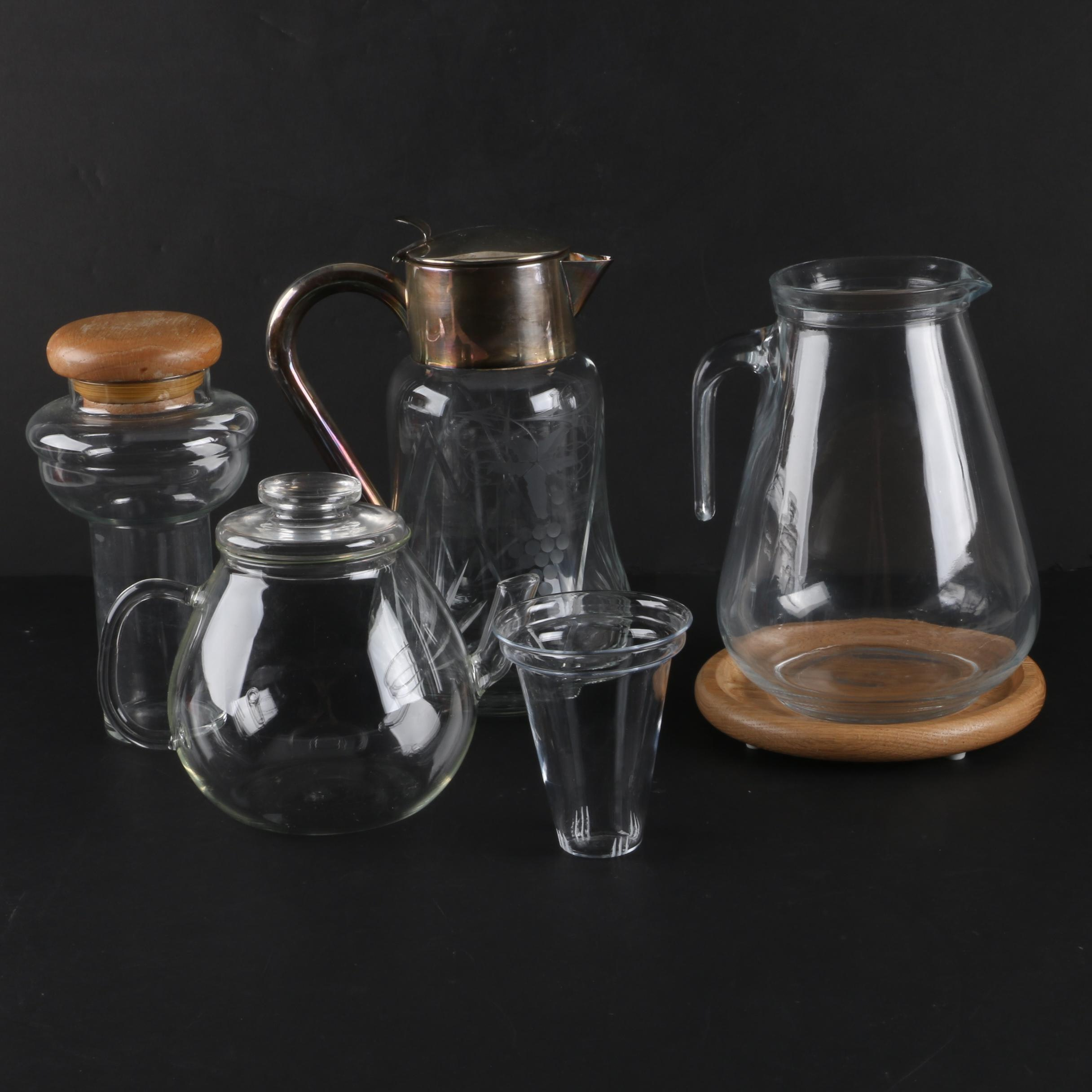 Glass Grape Motif Ice Water Pitcher with Other Glass Dispensers