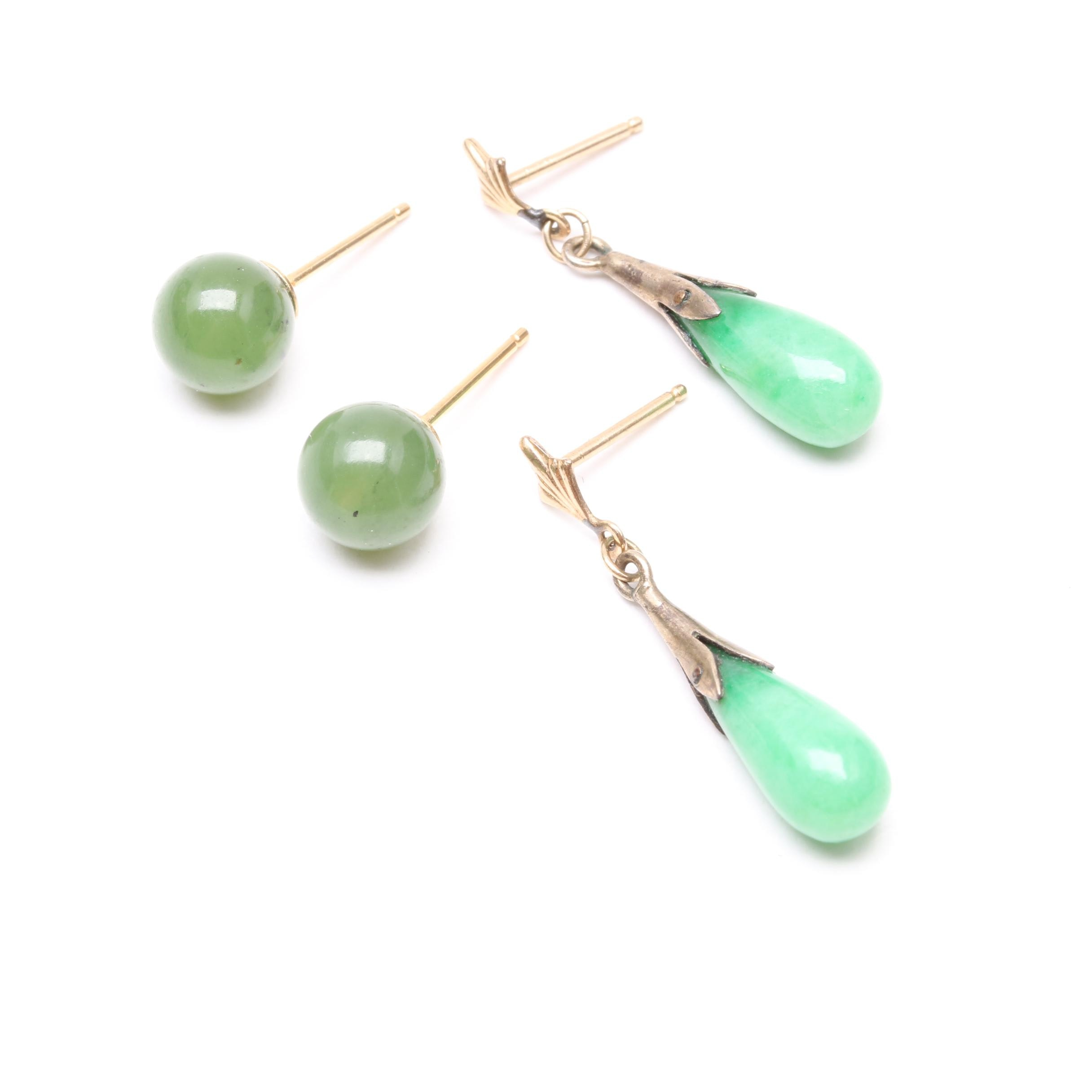 14K Yellow Gold Dyed Jadeite and Nephrite Earrings Including 800 Silver and 18K