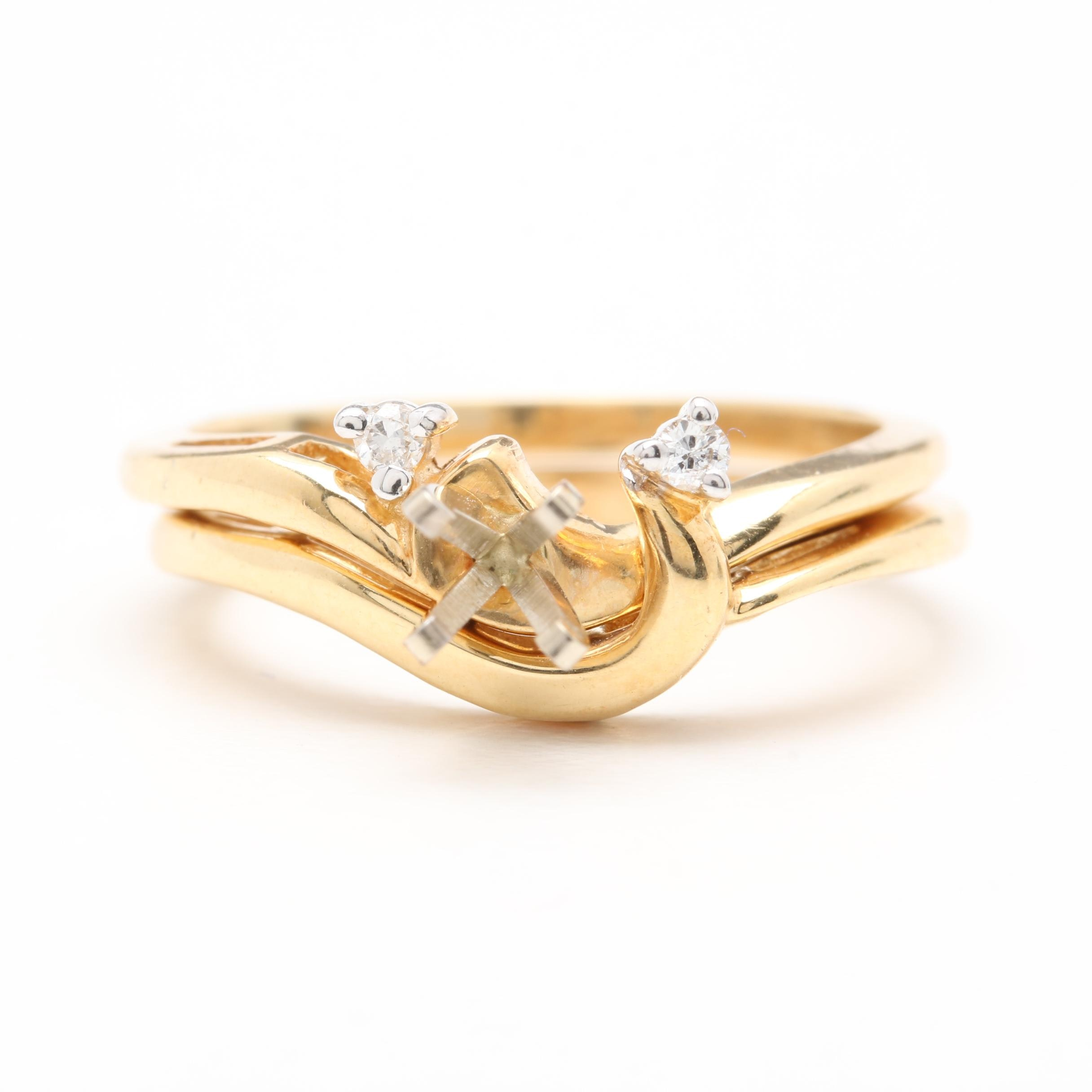 14K Yellow Gold Diamond Semi Mount Ring and Shadow Band