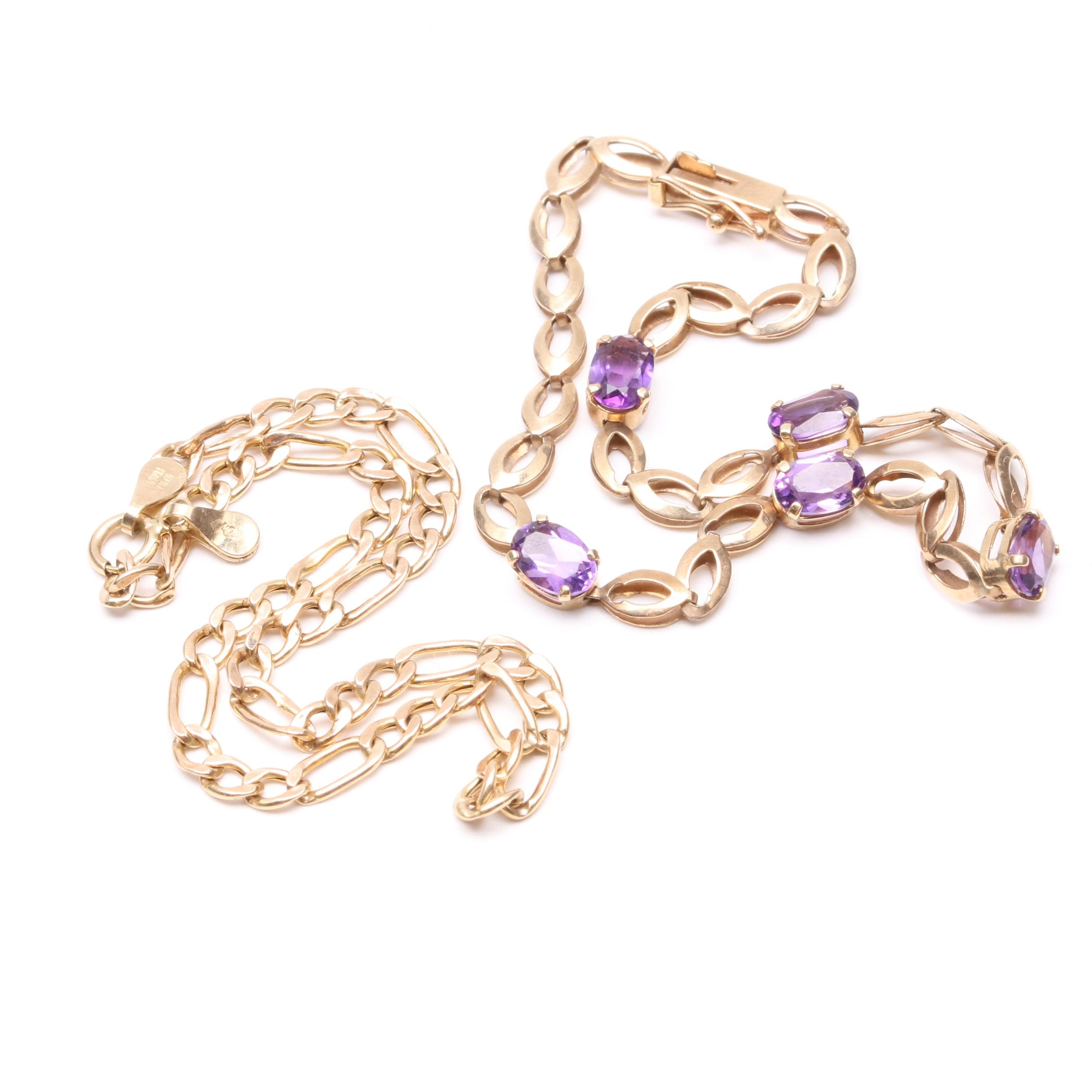 10K Yellow Gold Amethyst Link Bracelet and Figaro Link Bracelet