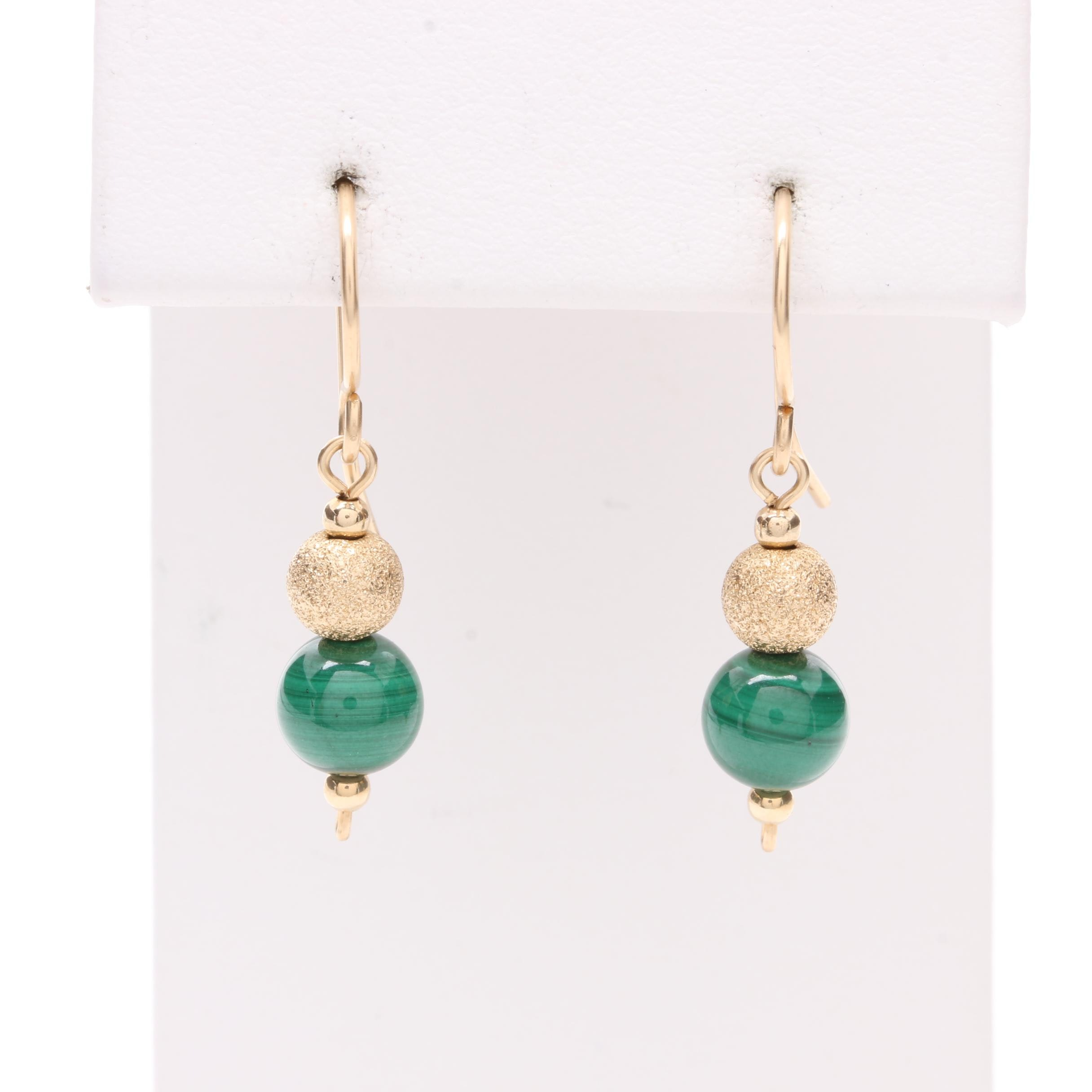 10K Yellow Gold Malachite Beaded French Wire Earrings