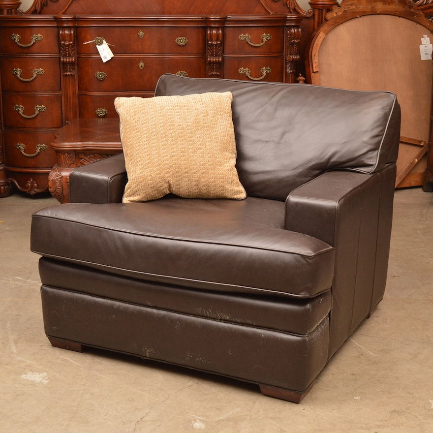 Leather Upholstered Club Chair By Randall Allan
