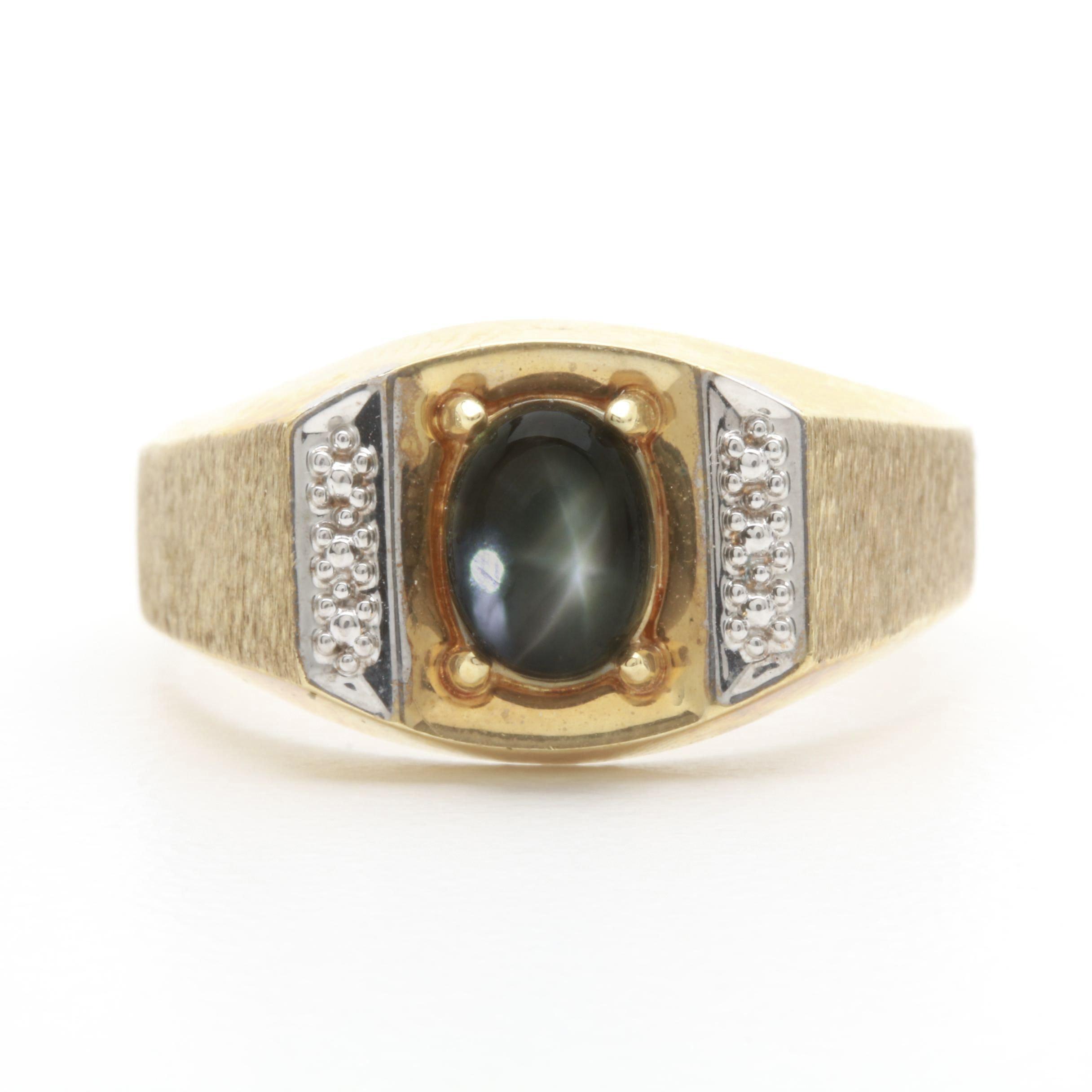 10K Yellow Gold Black Star Sapphire Ring