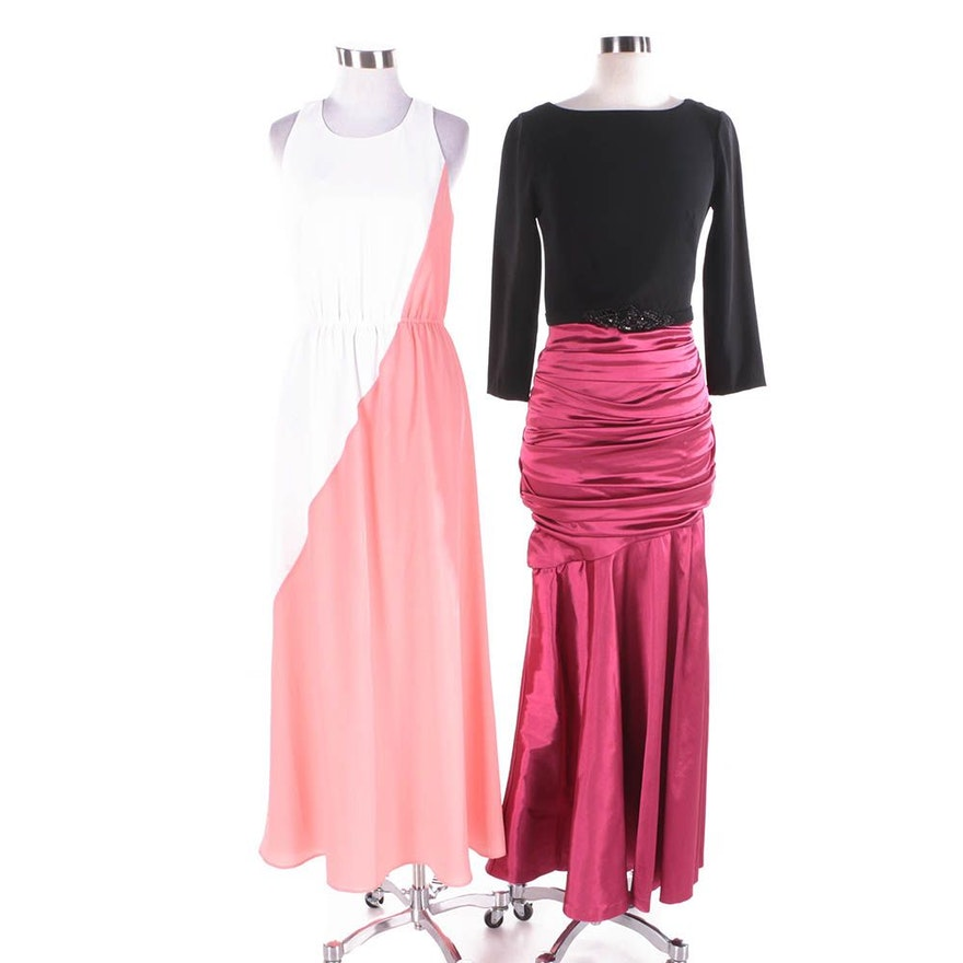 Theia Long Sleeved Gown And Shoshana Maxi Dress