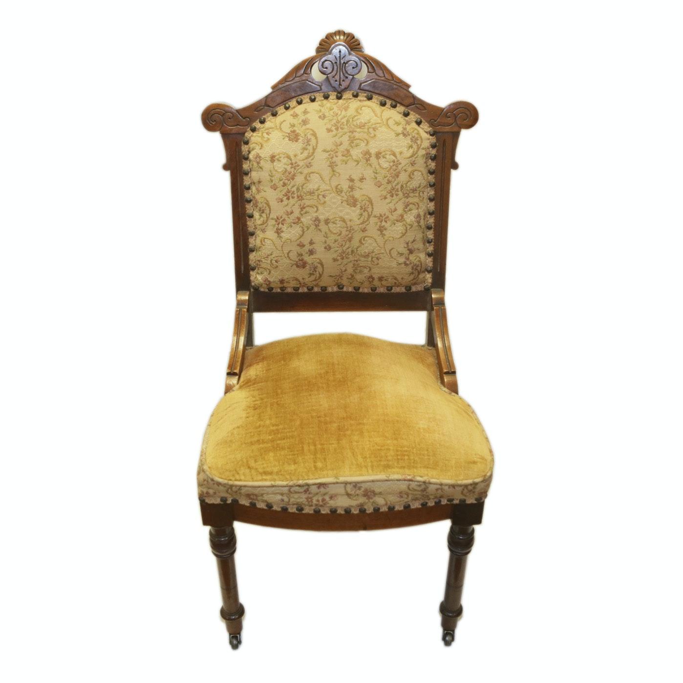 Antique Eastlake Side Chair with Velvet Upholstery