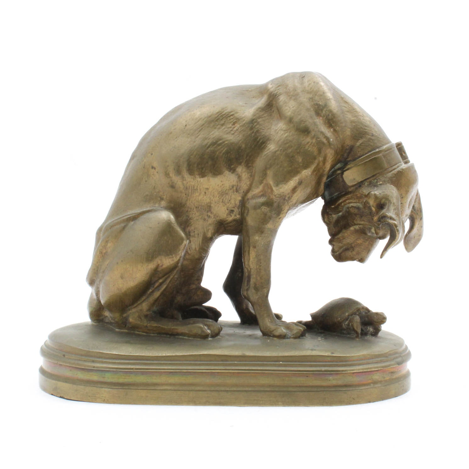 """A. Jacquemart Bronze """"Hound and Tortoise"""" Sculpture"""