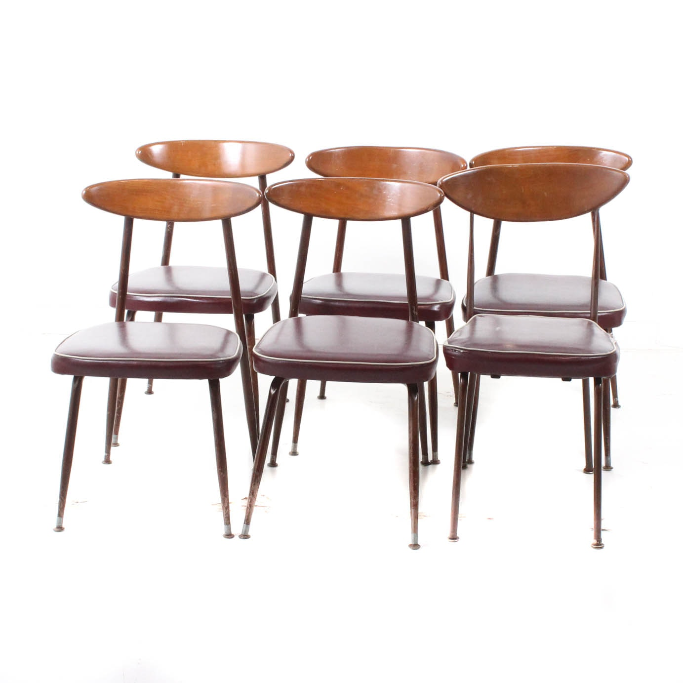 Mid Century Modern Walnut and Metal Dining Chairs