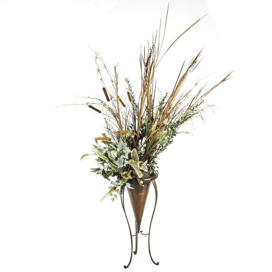 Artificial Plant Arrangement In Cone Shaped Vase With Stand Ebth