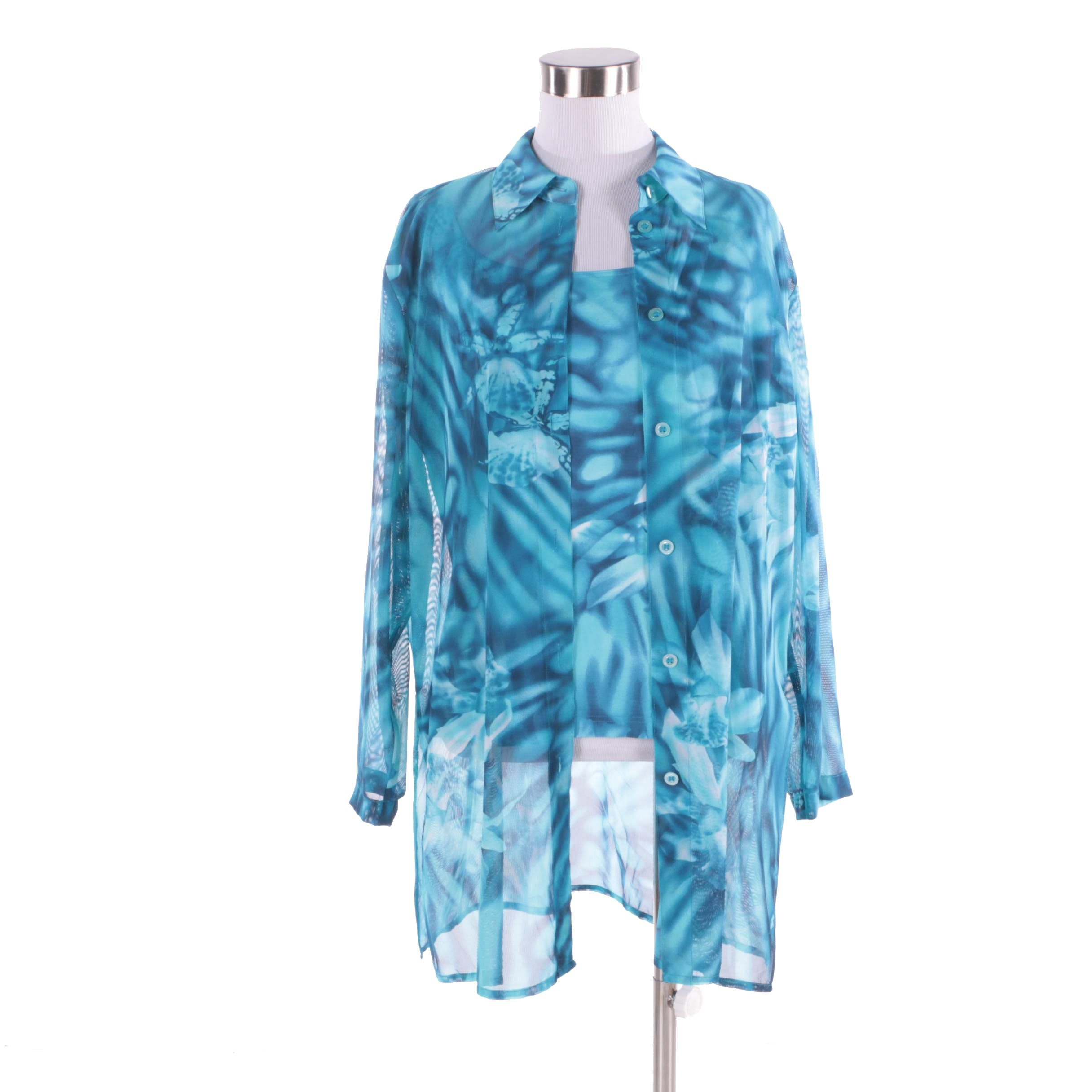 Women's Escada Blue Printed Button-Front Shirt with Matching Tank Top