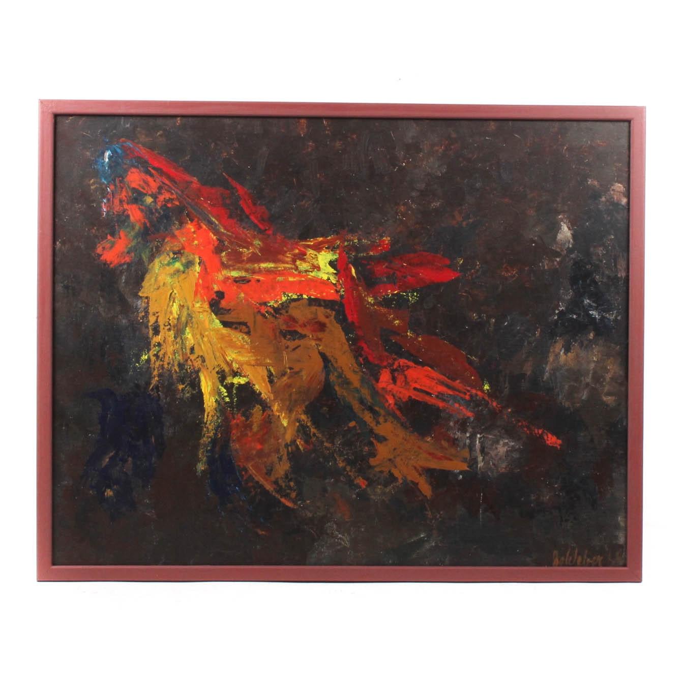 Mid Century Modern Signed Acrylic Painting