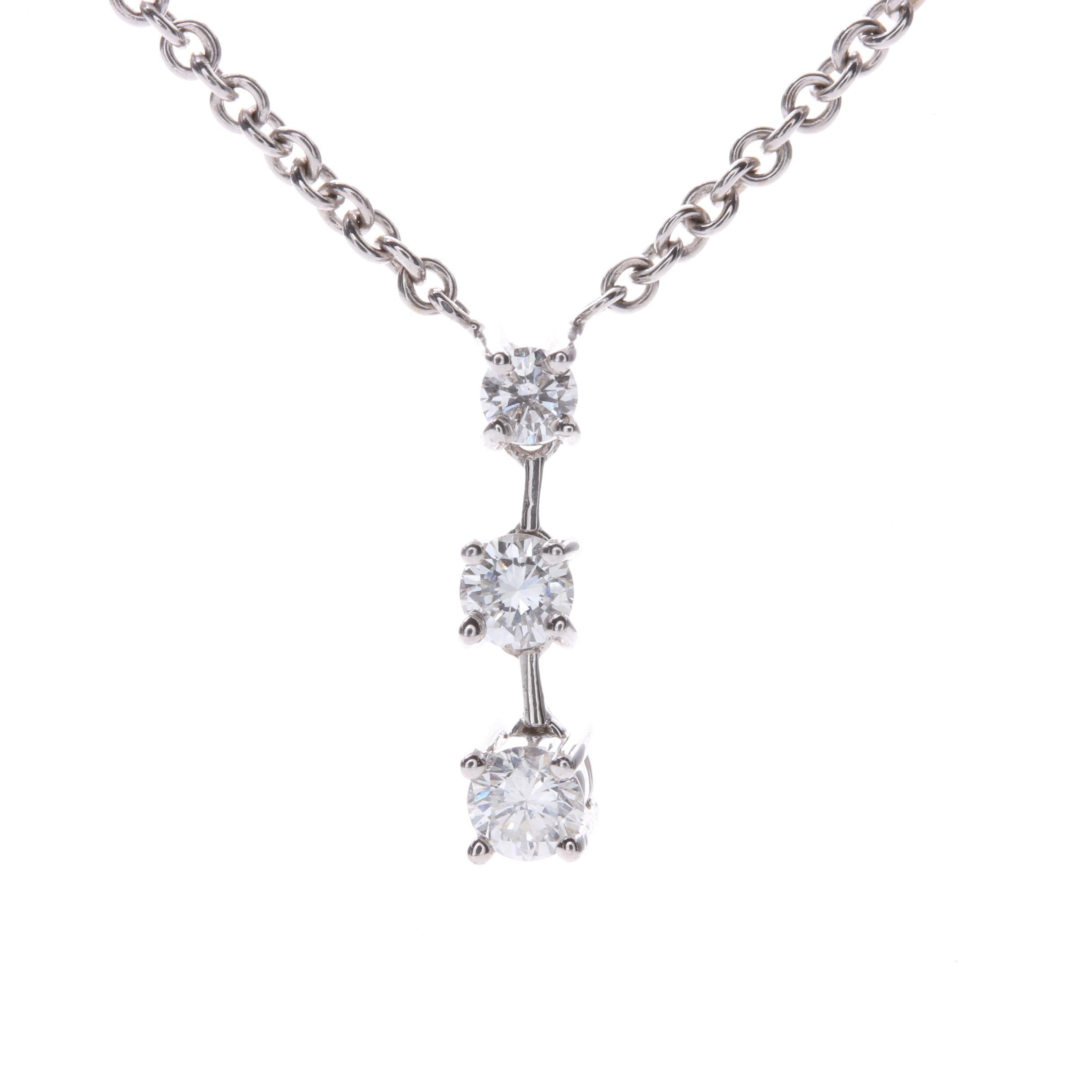14K White Gold Triple Diamond Drop Necklace