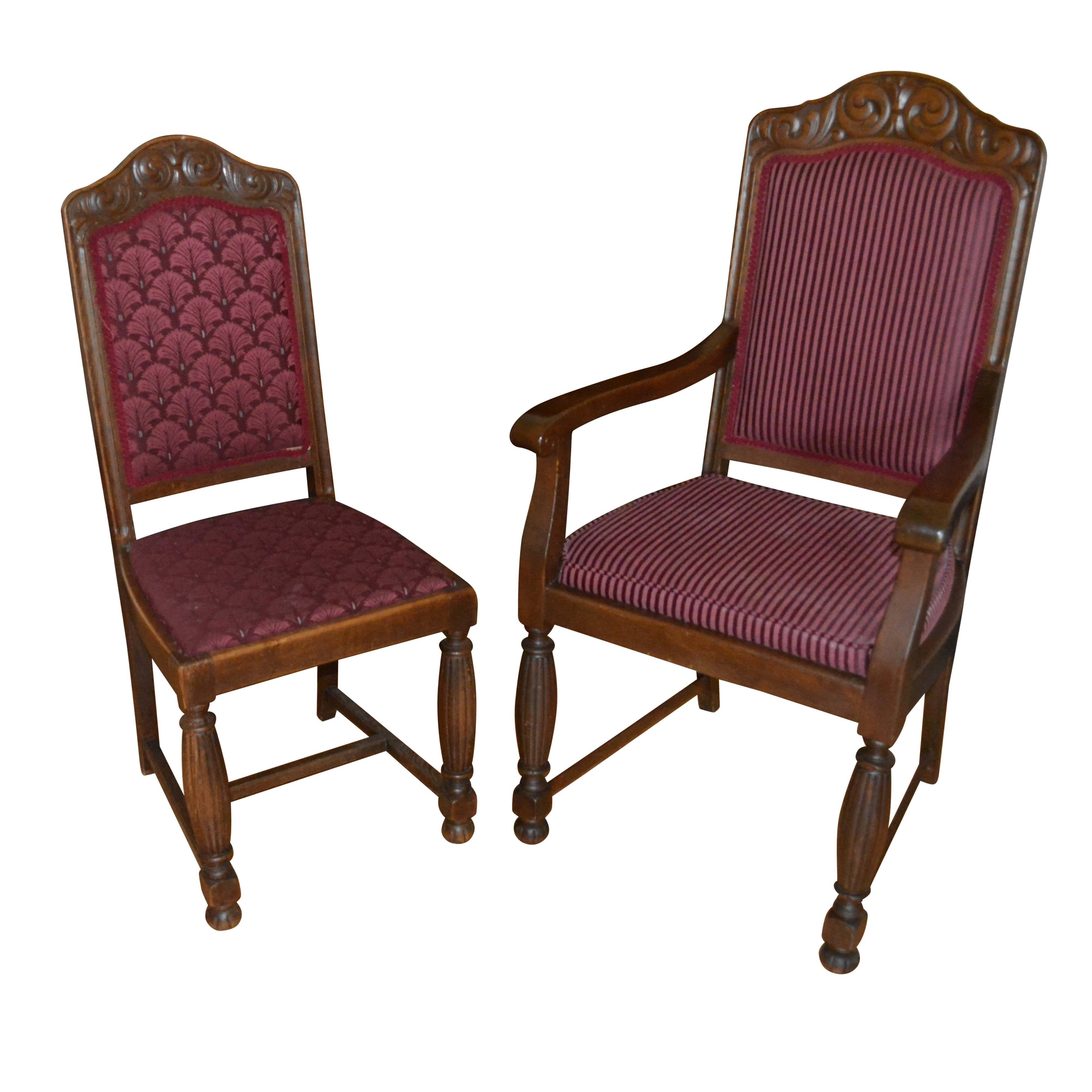 Cranberry Upholstered Armchair and Side Chair