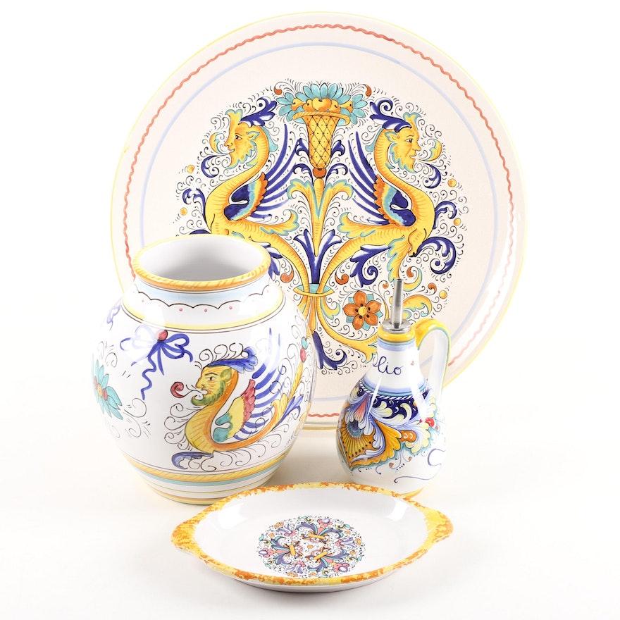 Italian Ceramic Serveware and Vase Featuring Deruta Ceramiche : EBTH