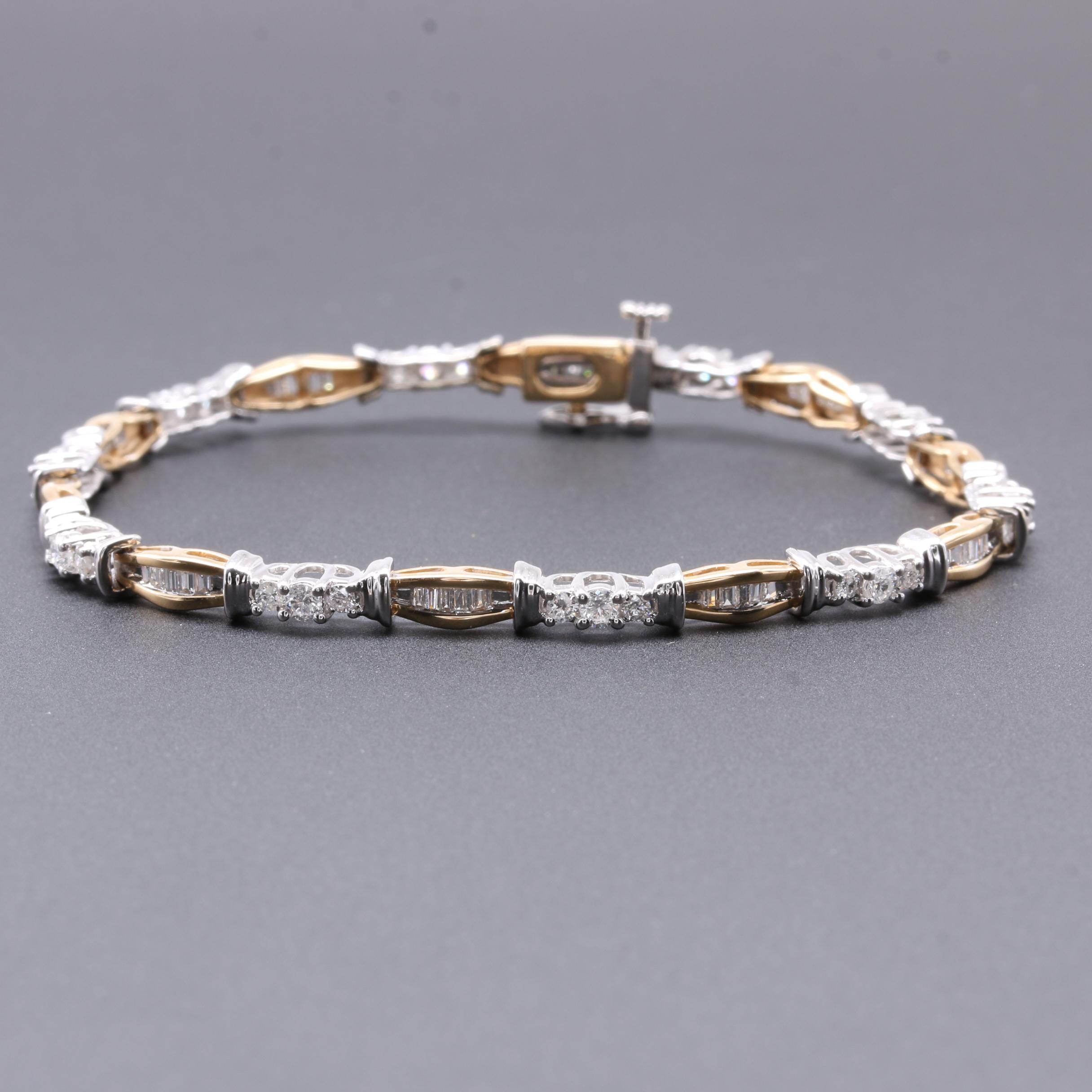 14K Two Tone Gold 1.45 CTW Diamond Bracelet