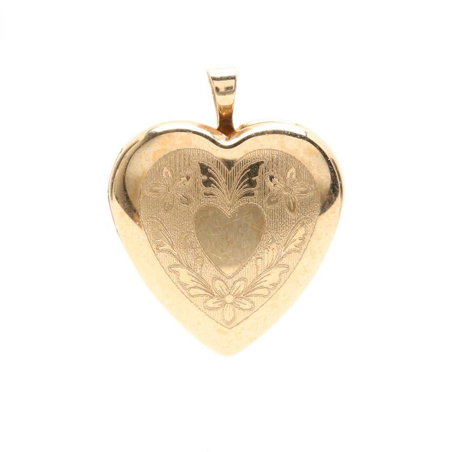 14k yellow gold heart locket pendant ebth 14k yellow gold heart locket pendant mozeypictures Images