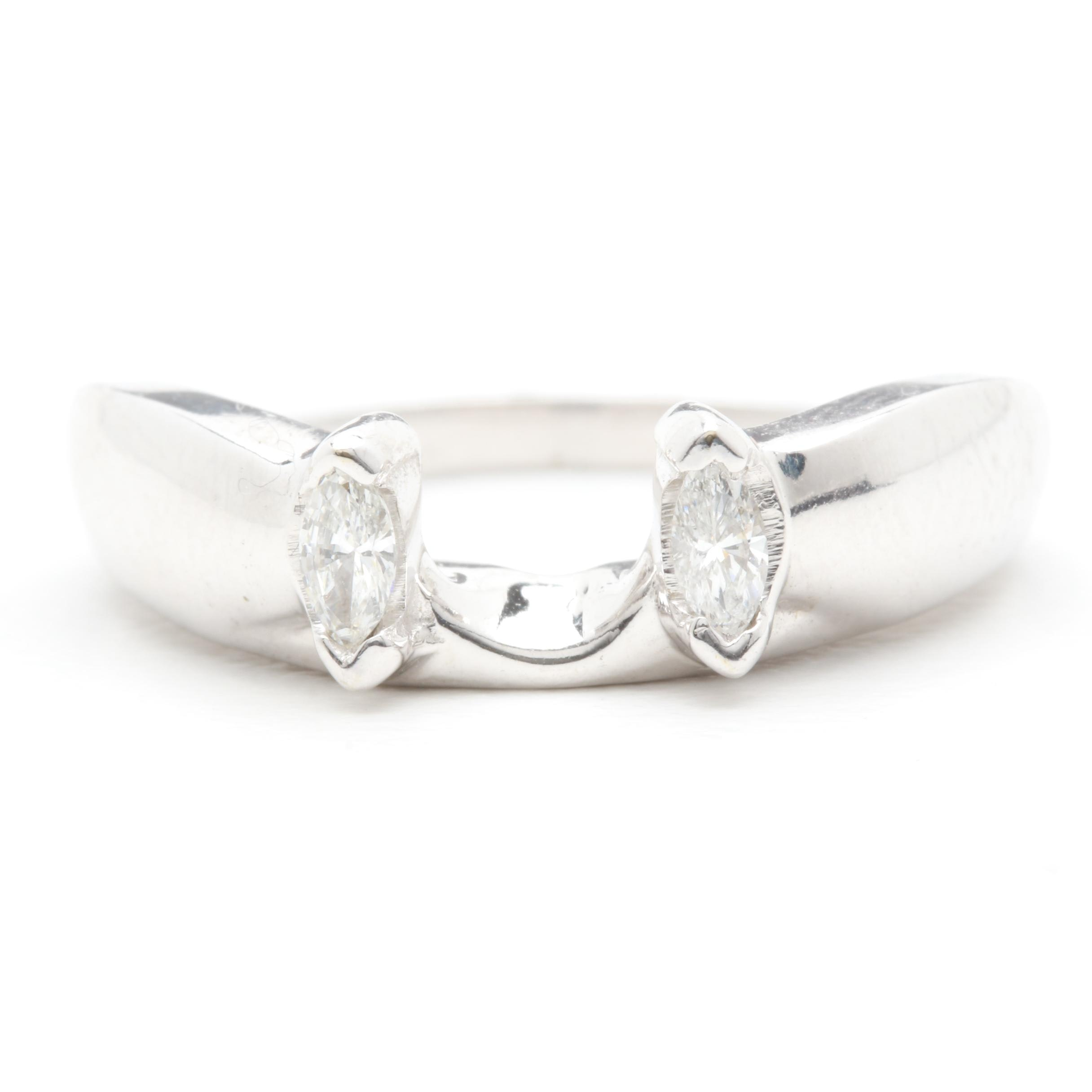14K White Gold Diamond Guard Ring