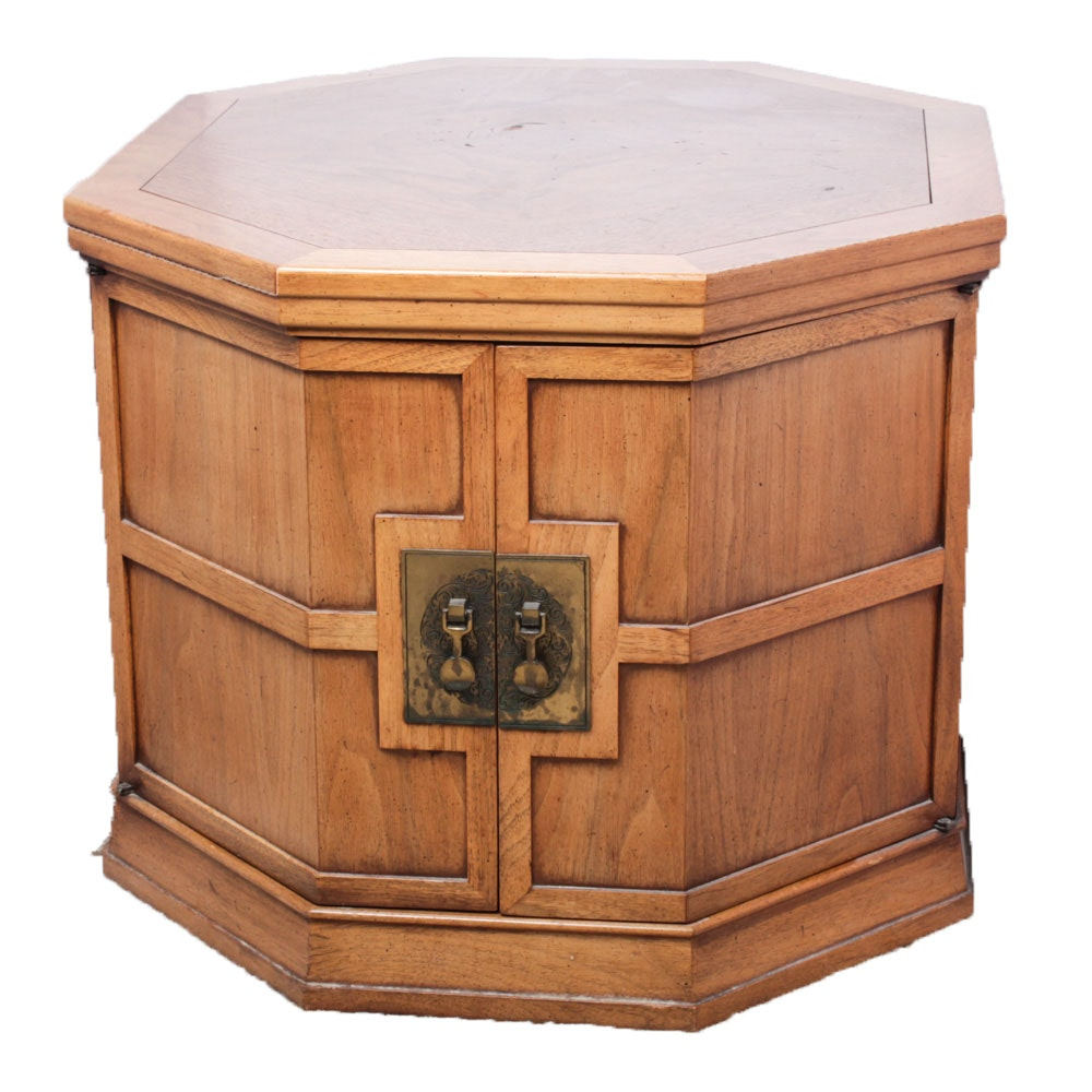 Vintage Wood Veneer Octagonal Side Table