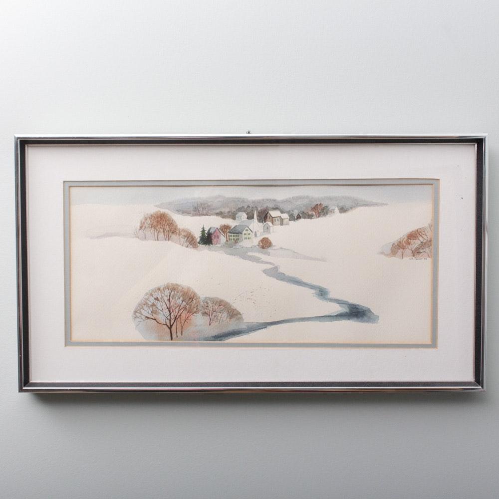 S.F. Castor Watercolor Landscape Painting