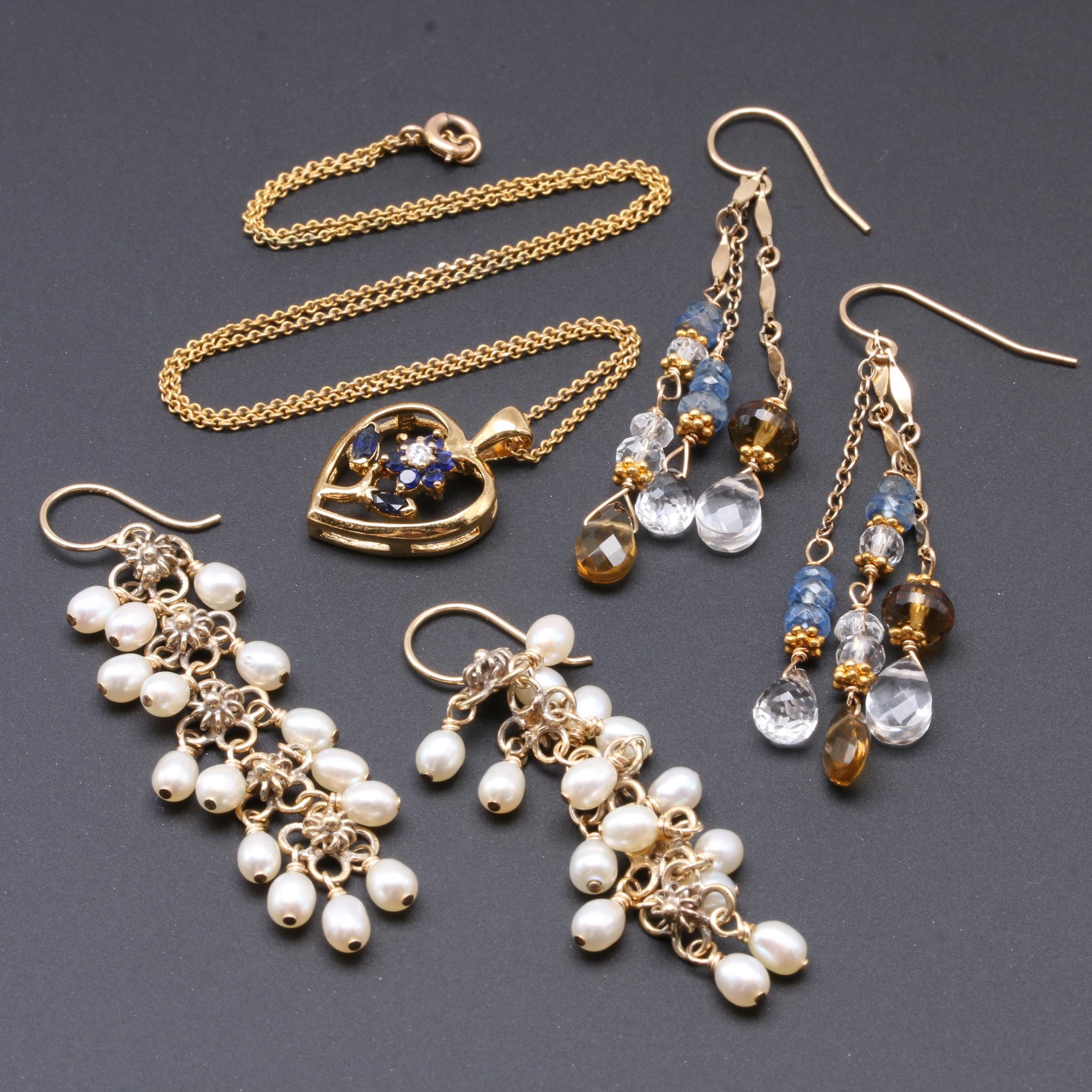 Drop Earrings and Sapphire Heart Pendant Necklace with Mixed Gold Elements