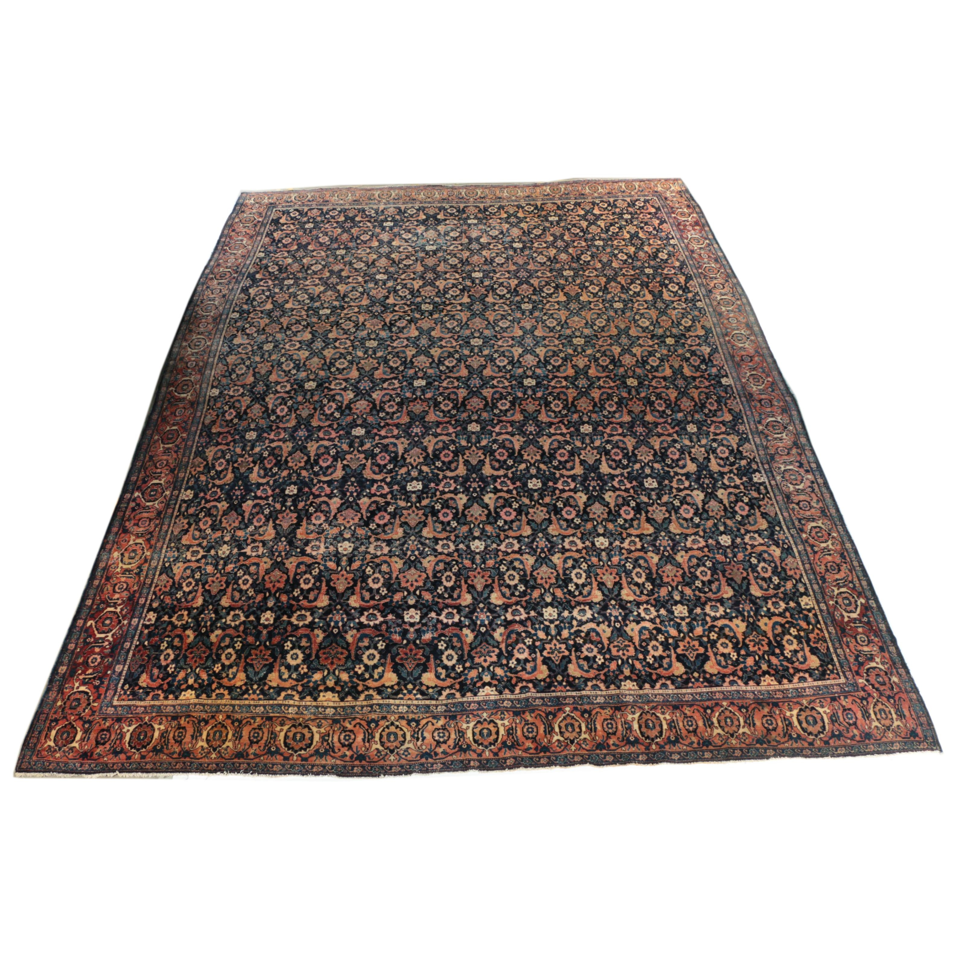 Vintage Hand-Knotted Persian Bijar Wool Palace Size Rug