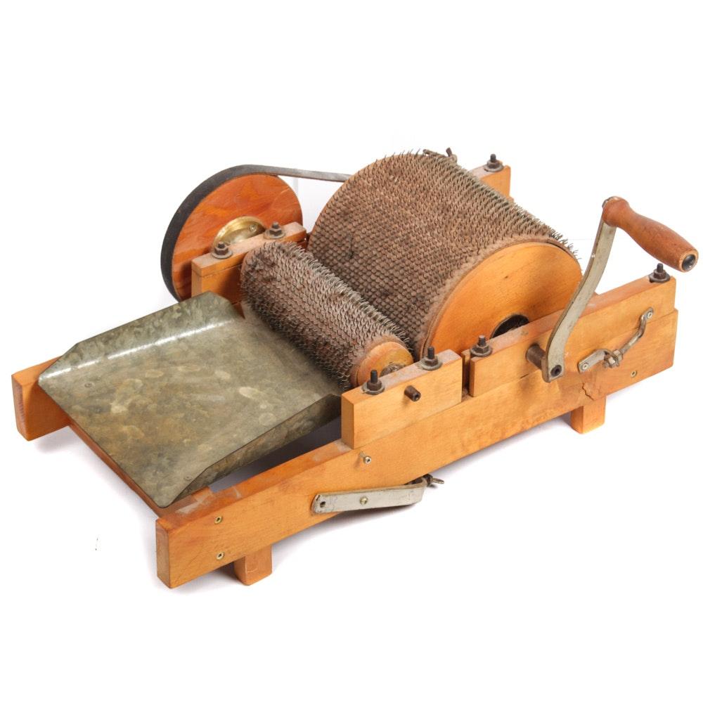 Vintage Crank Operated Drum Carder Machine