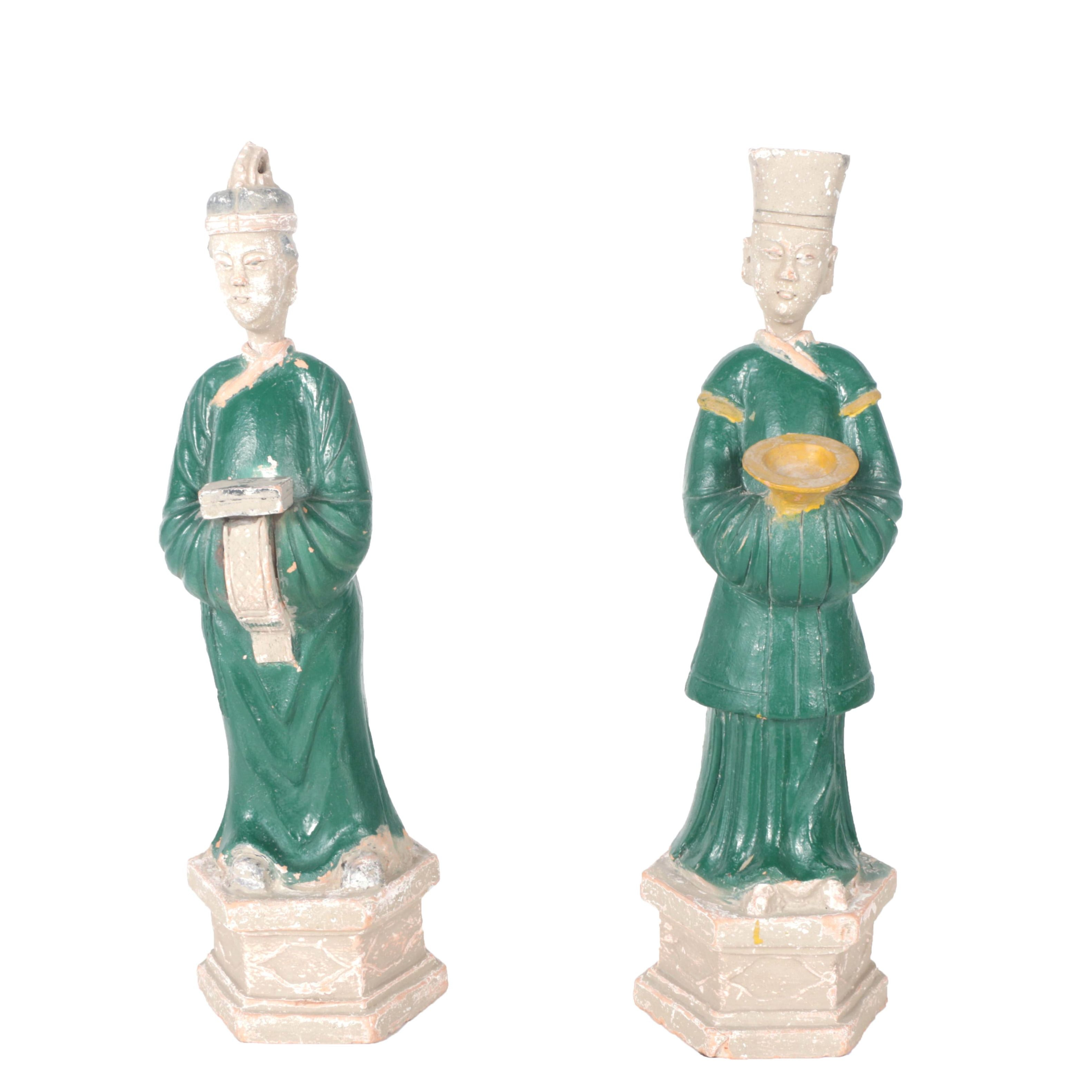 Chinese Polychrome Ceramic Sculptures