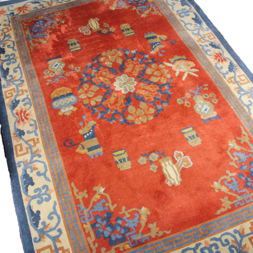 5'10 x 11'5 Vintage Hand-Knotted Chinese Area Rug