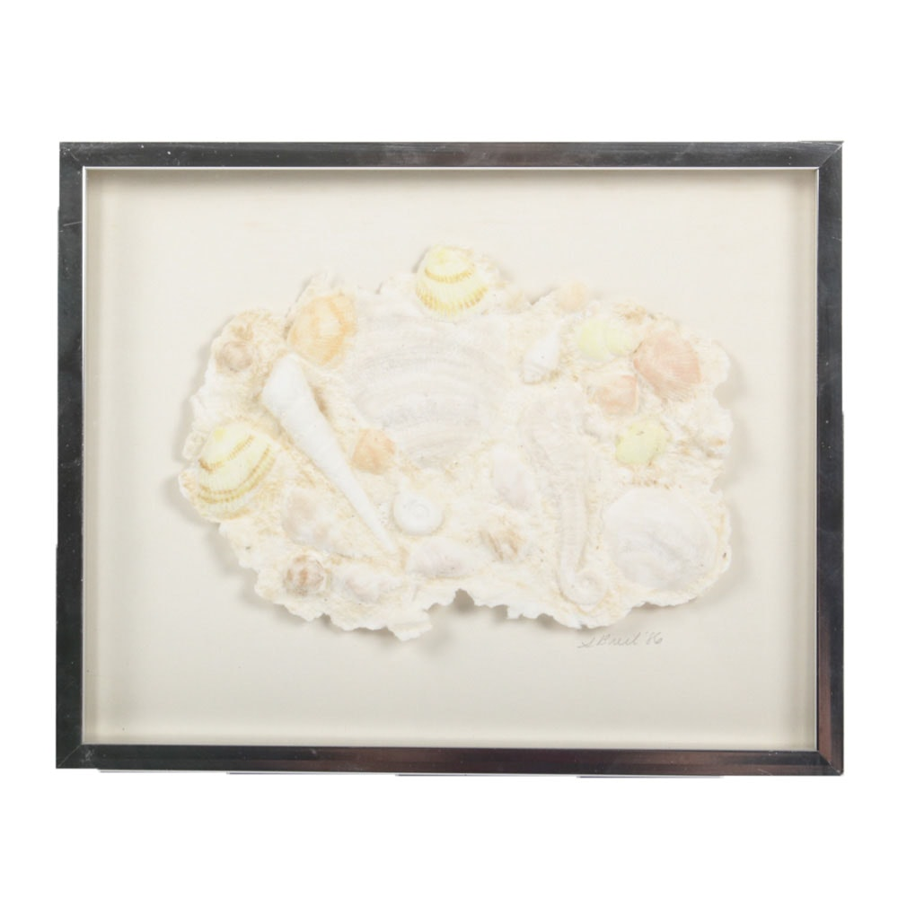 Signed Mixed Media Seashell Paper Sculpture
