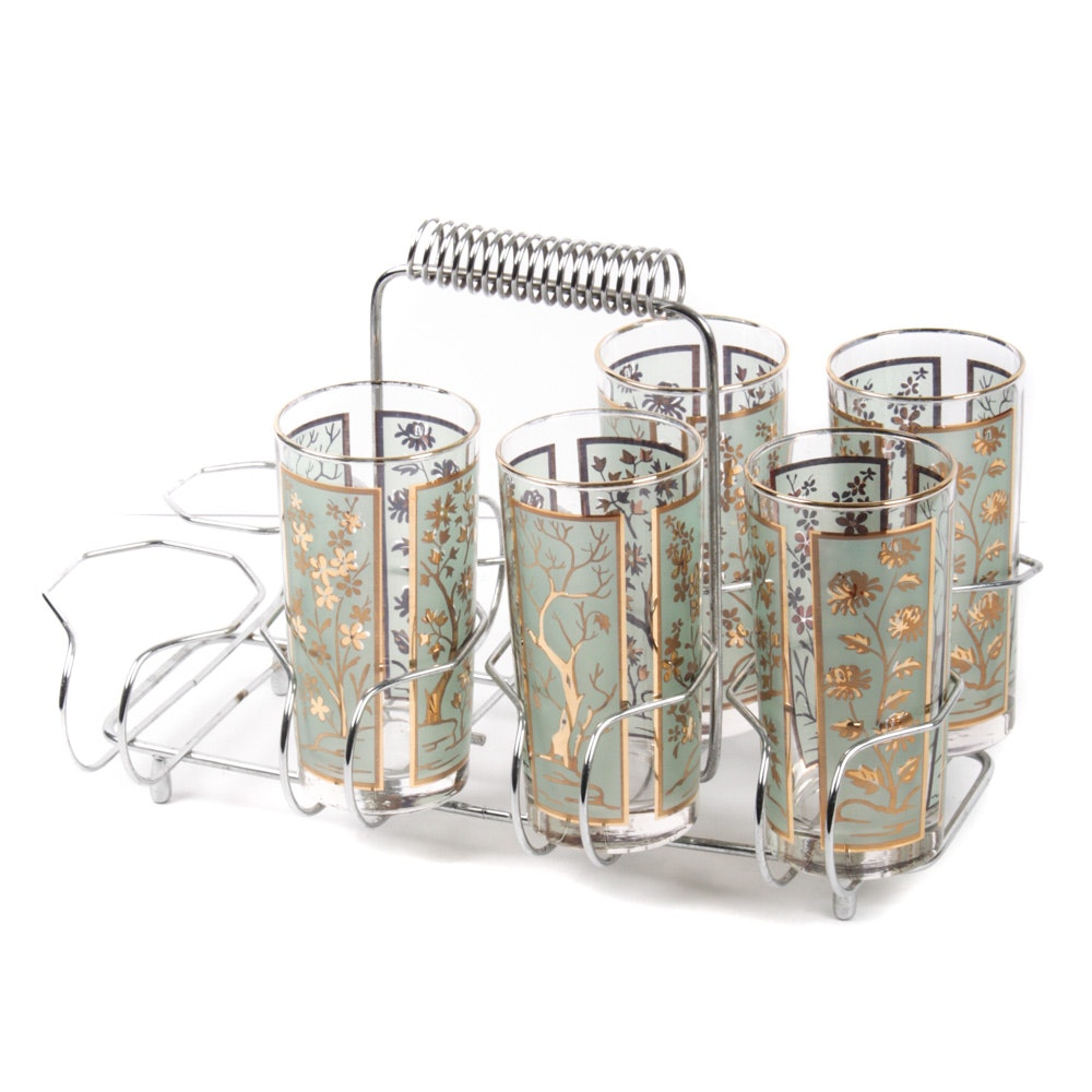 Mid Century Highball Glasses and Drink Caddy