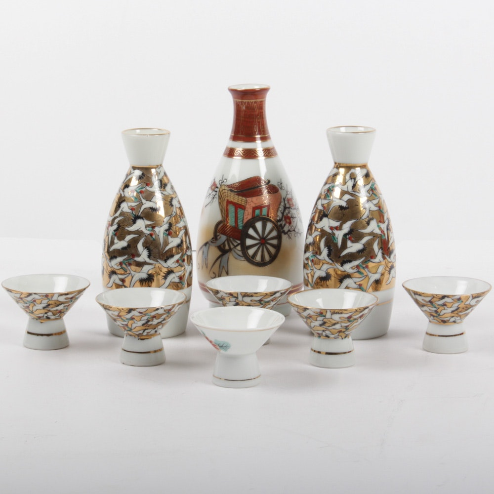 Vintage Japanese Kutani Porcelain Sake Set
