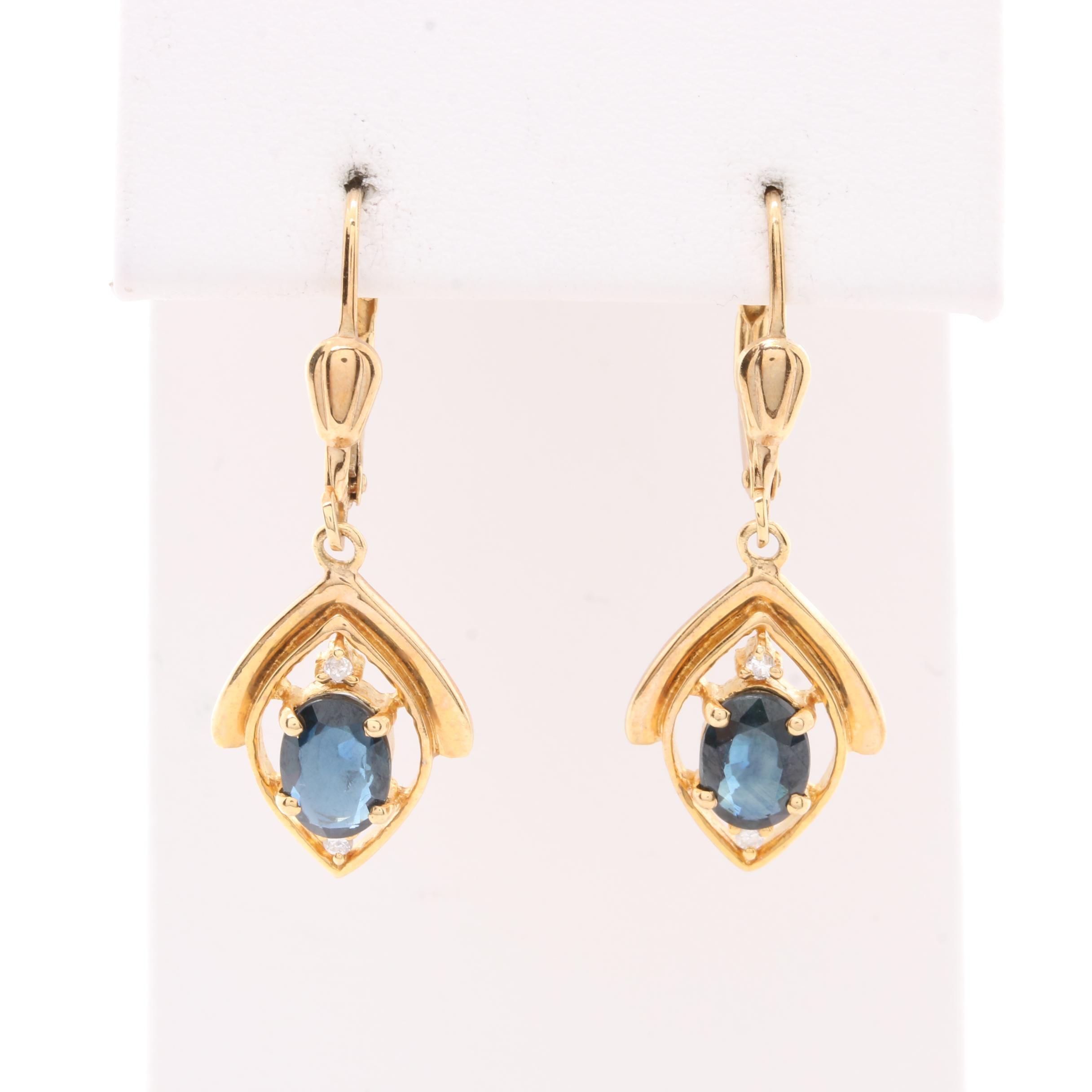 14K Yellow Gold Blue Sapphire and Diamond Dangle Earrings