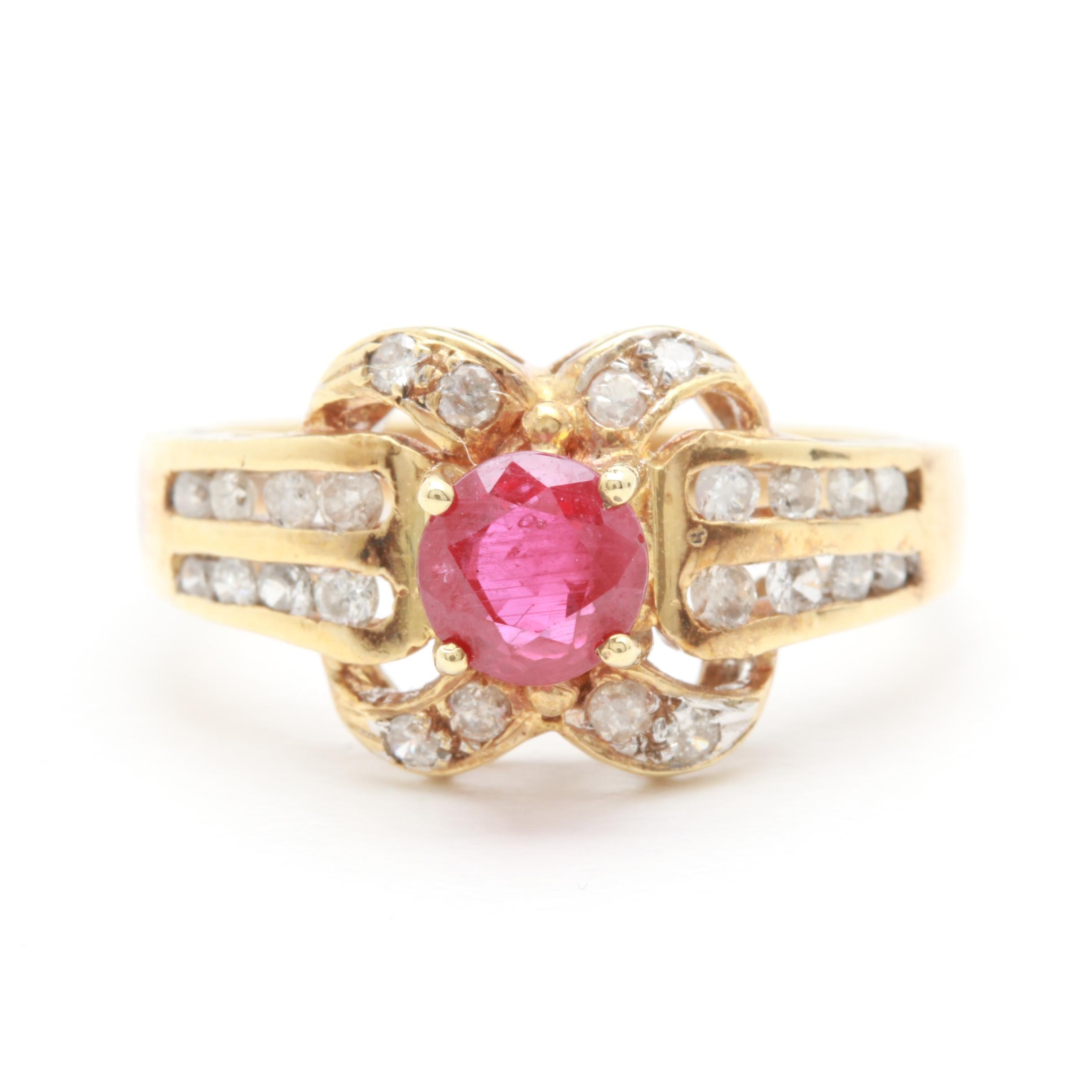 14K Yellow Gold 0.54 CT Ruby and Diamond Ring