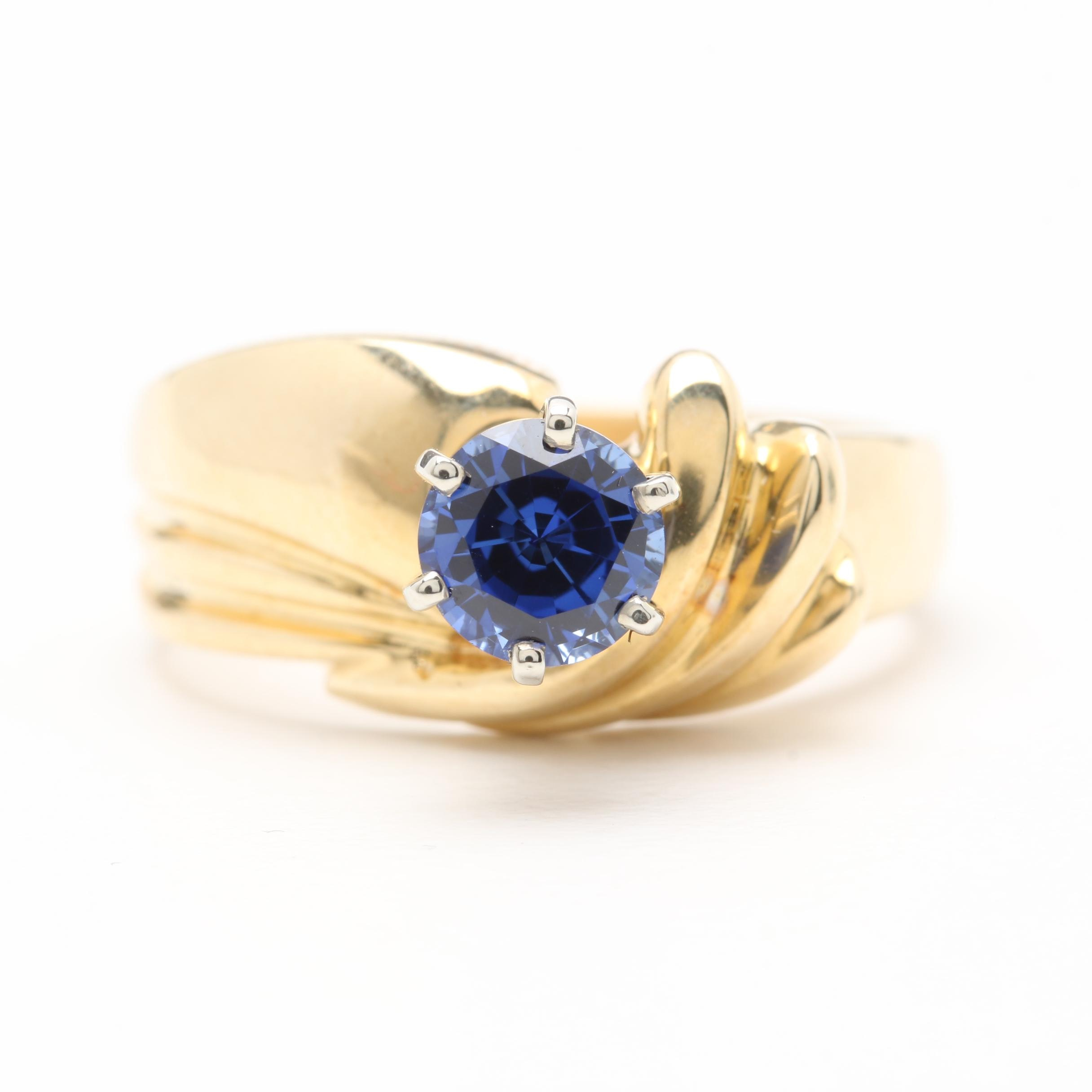 14K Yellow Gold Synthetic Blue Sapphire Ring with White Gold Accents