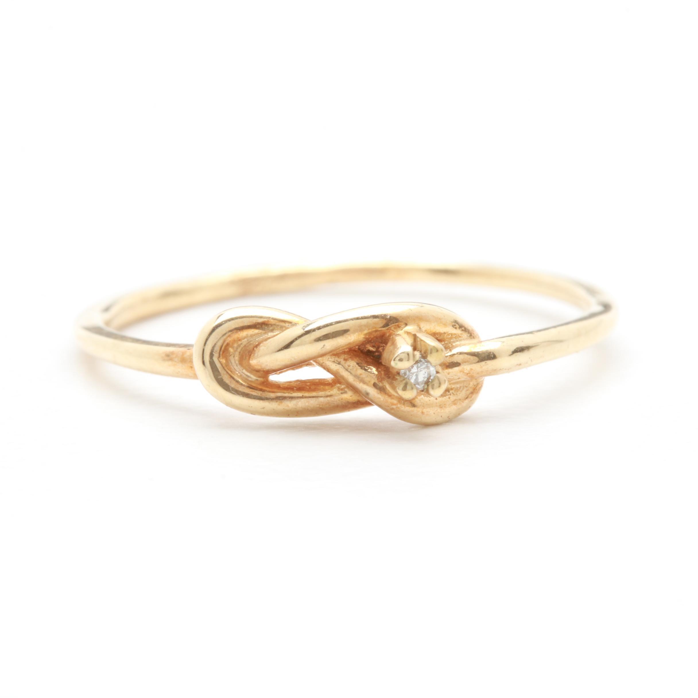 10K Yellow Gold Diamond Knot Ring