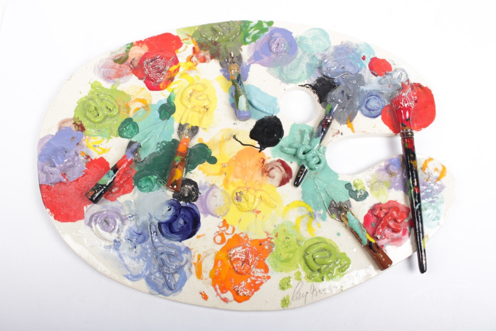 Ray Gross Ceramic Artist's Palette Sculpture
