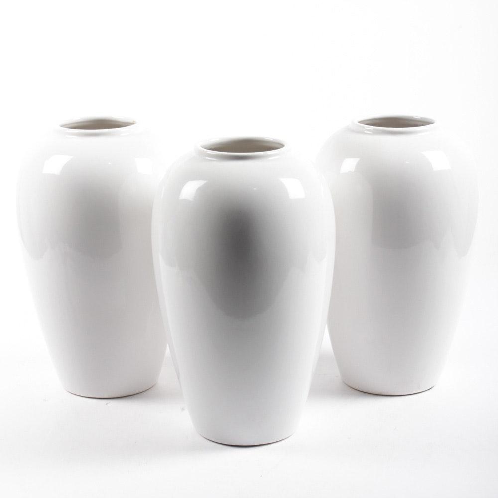 White Ceramic Floor Vases