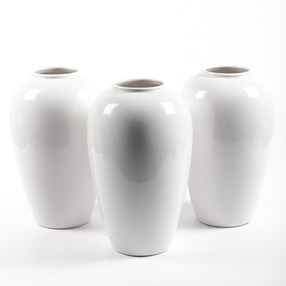 White Ceramic Floor Vases Ebth