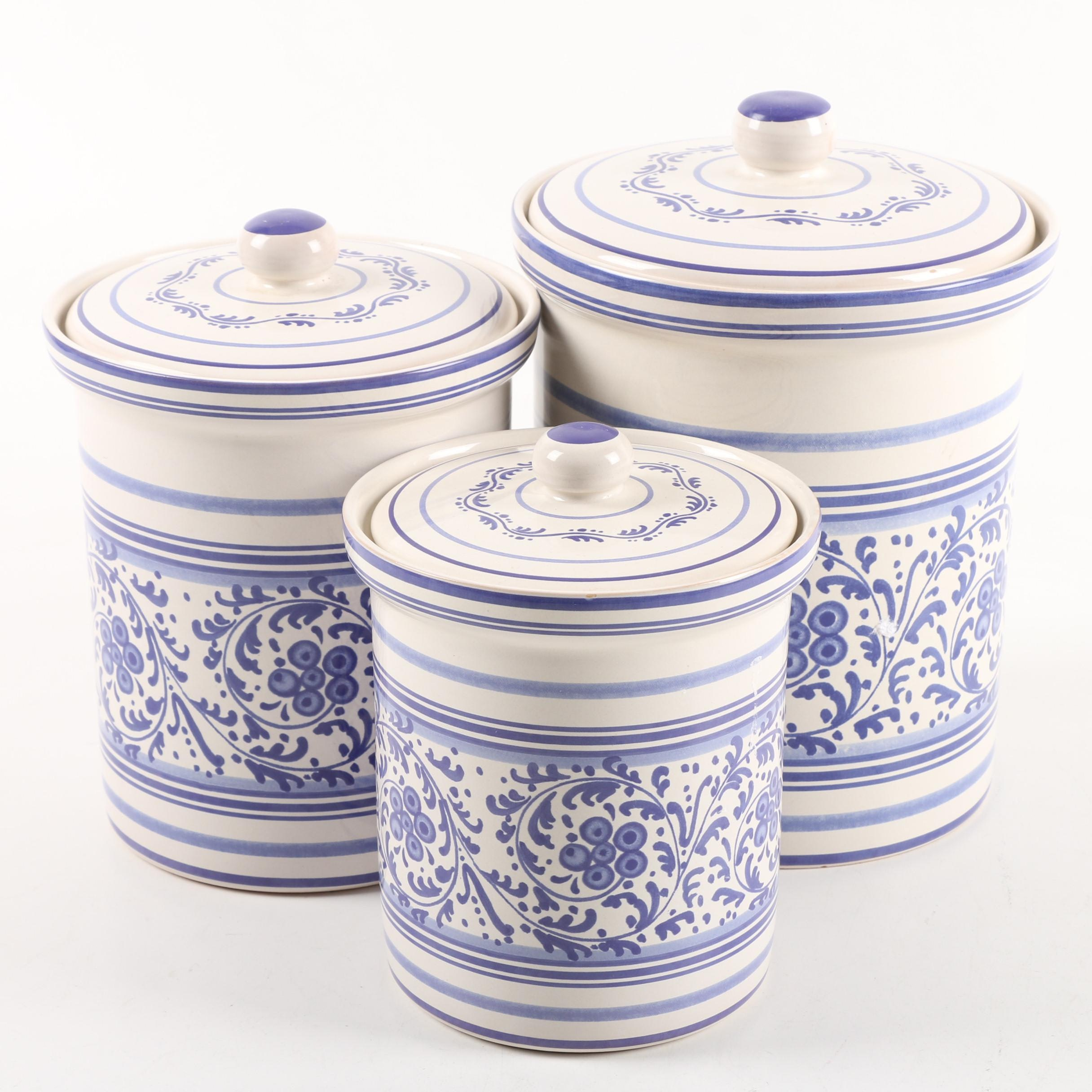 Williams-Sonoma Blue and White Ceramic Cannisters