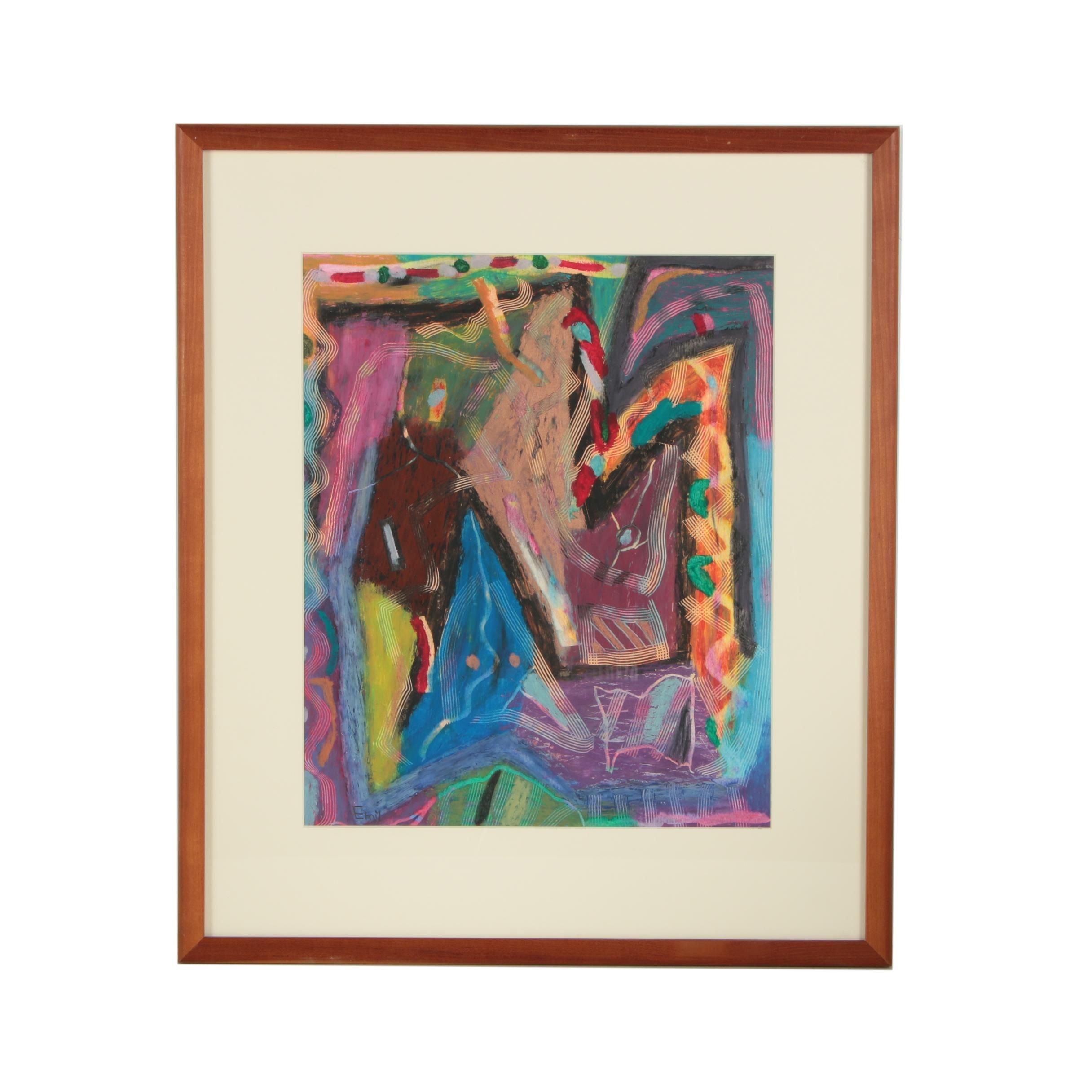 Emil Bauman Oil Pastel Drawing