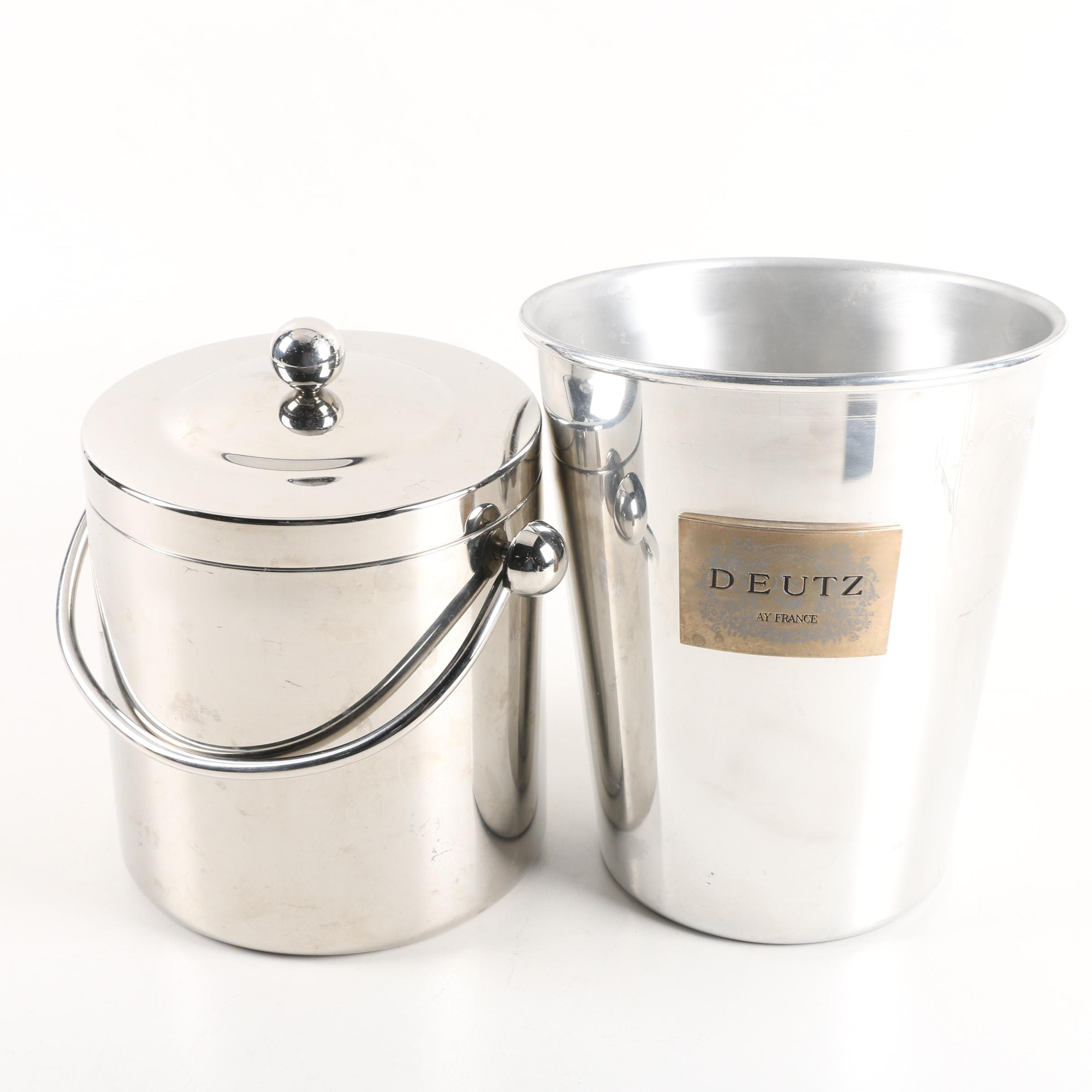 Deutz Aluminum and Marquis by Waterford Stainless Steel Ice Buckets