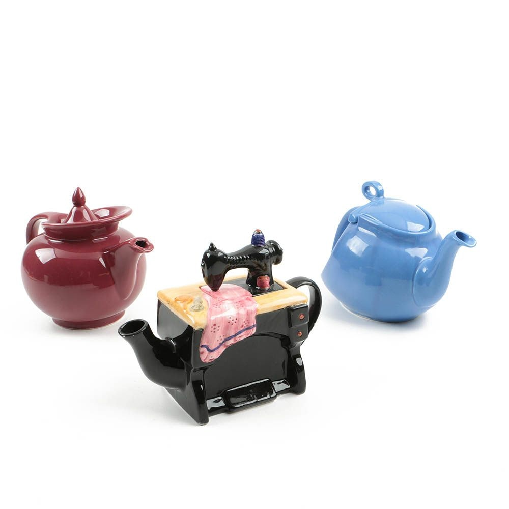 Two Hall Pottery and Cardinal Inc. Ceramic Teapots