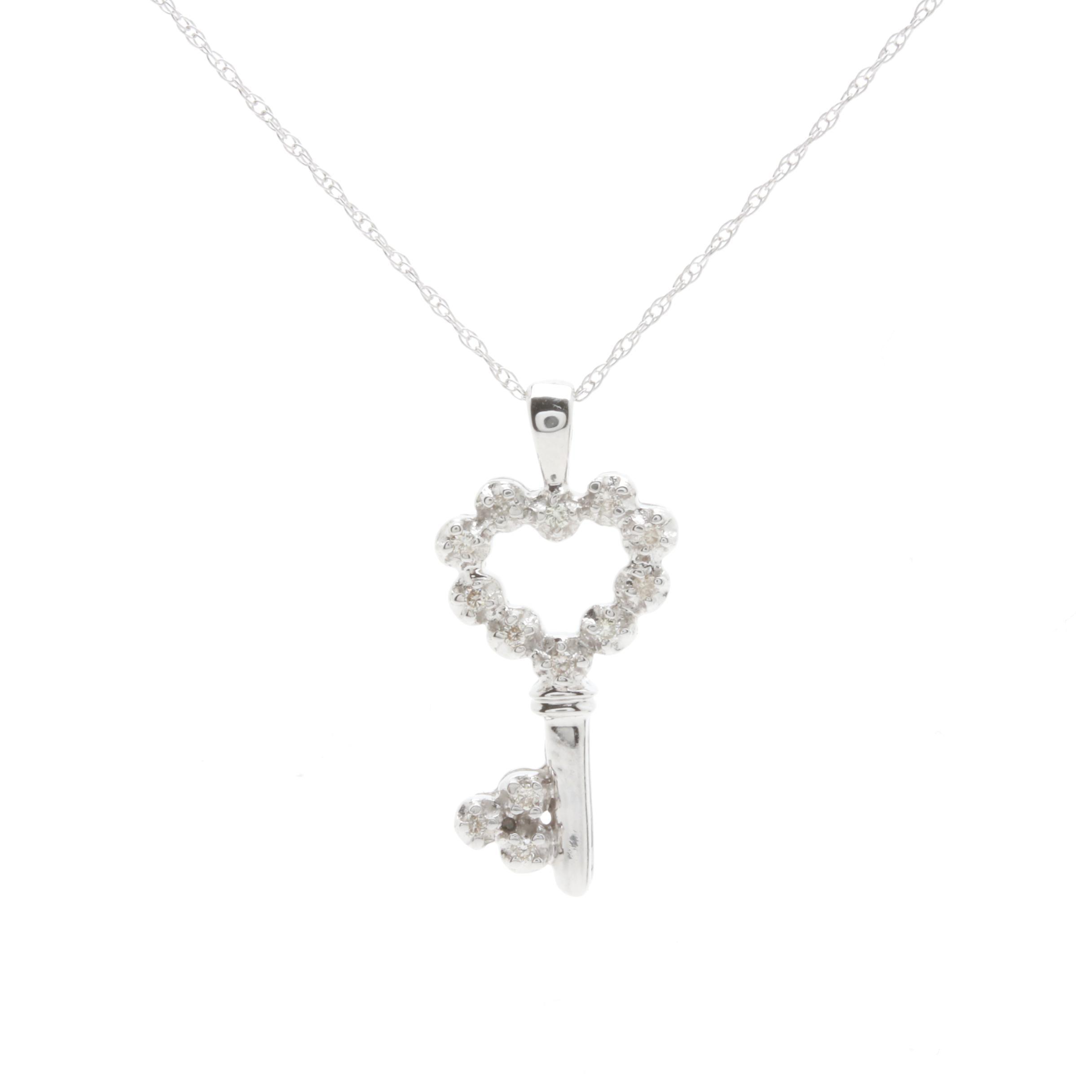 14K White Gold Diamond Key Pendant Necklace