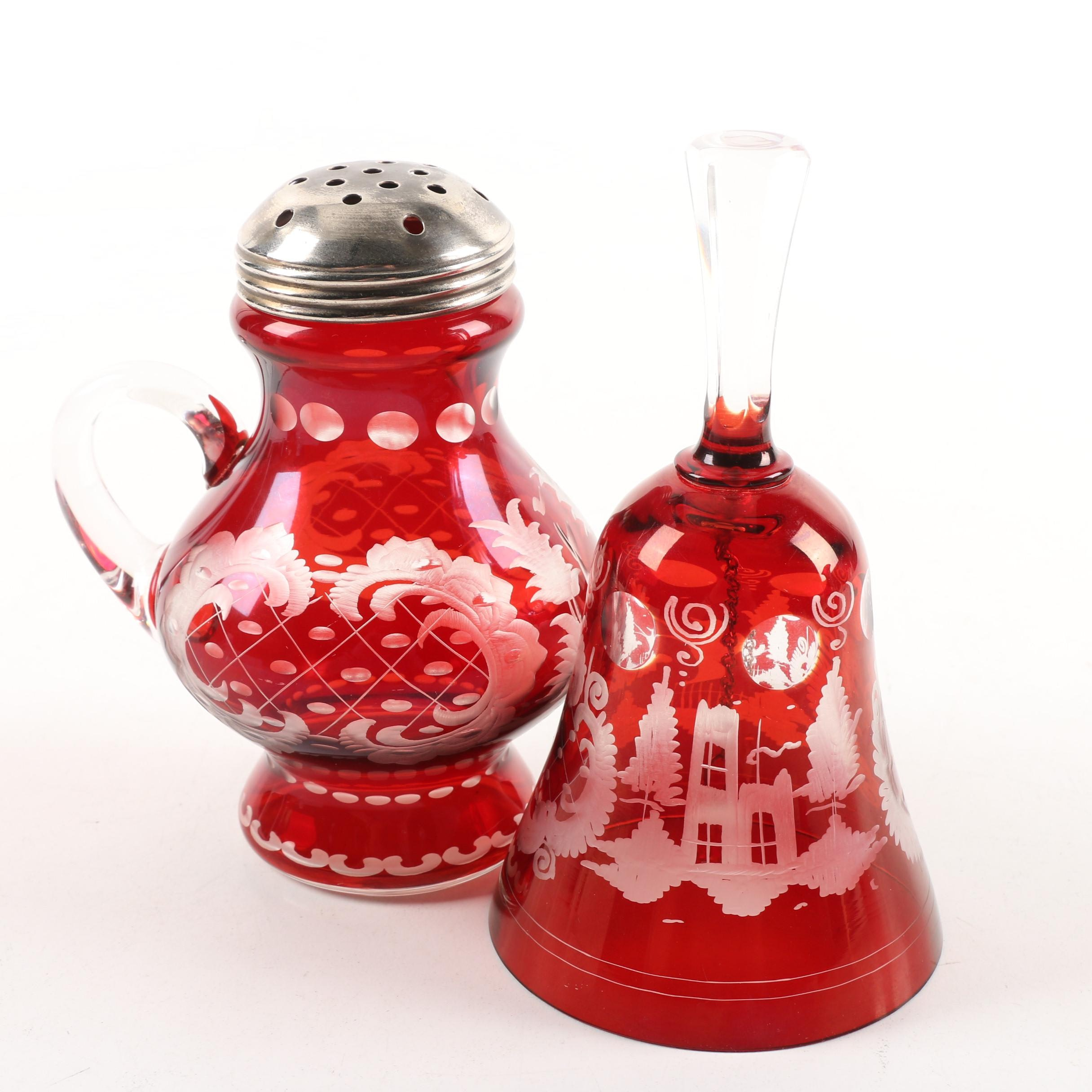 Bohemian Ruby Flashed Etched to Clear Sugar Shaker and Hand Bell