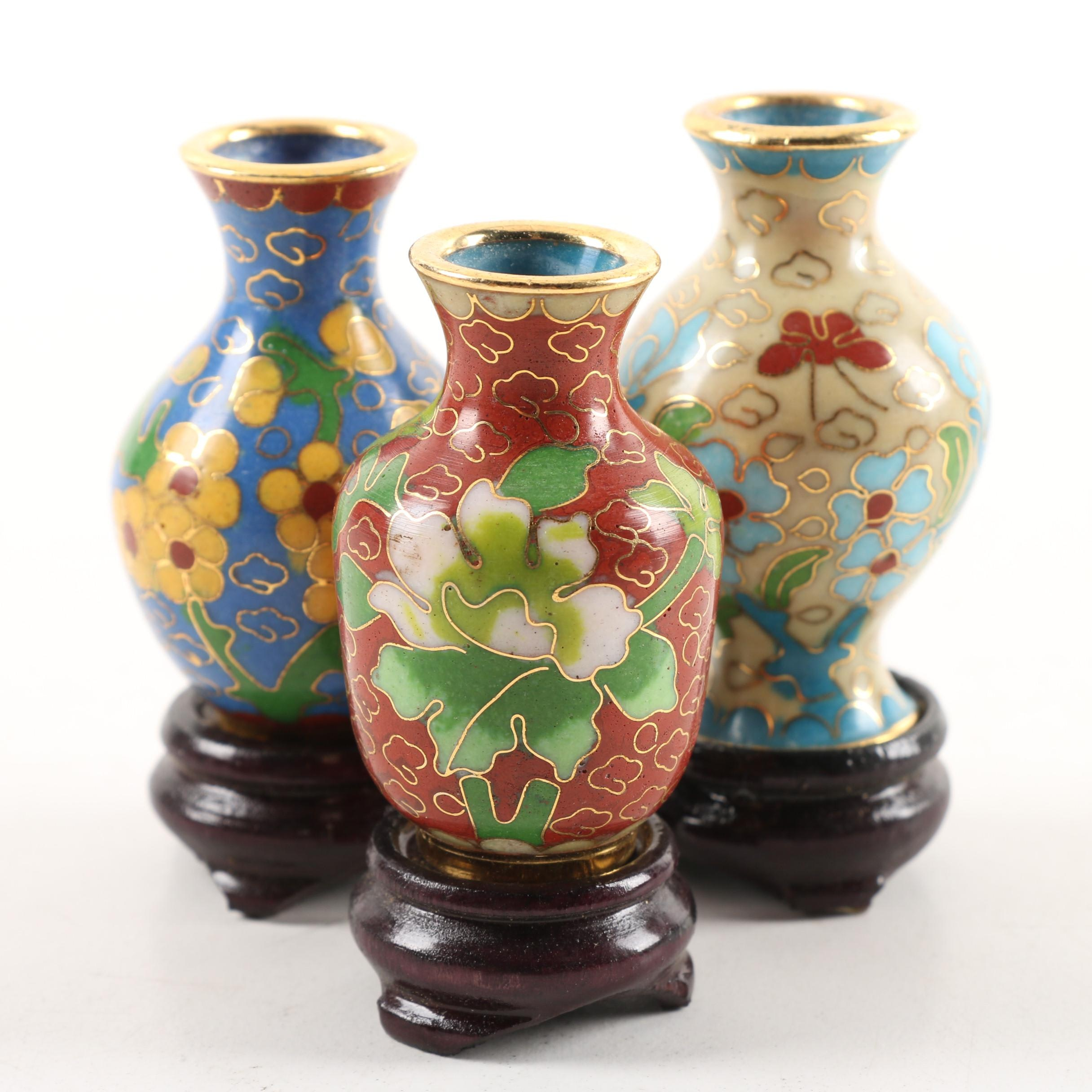 Three Miniature Cloisonne Vases With Carved Wood Stands