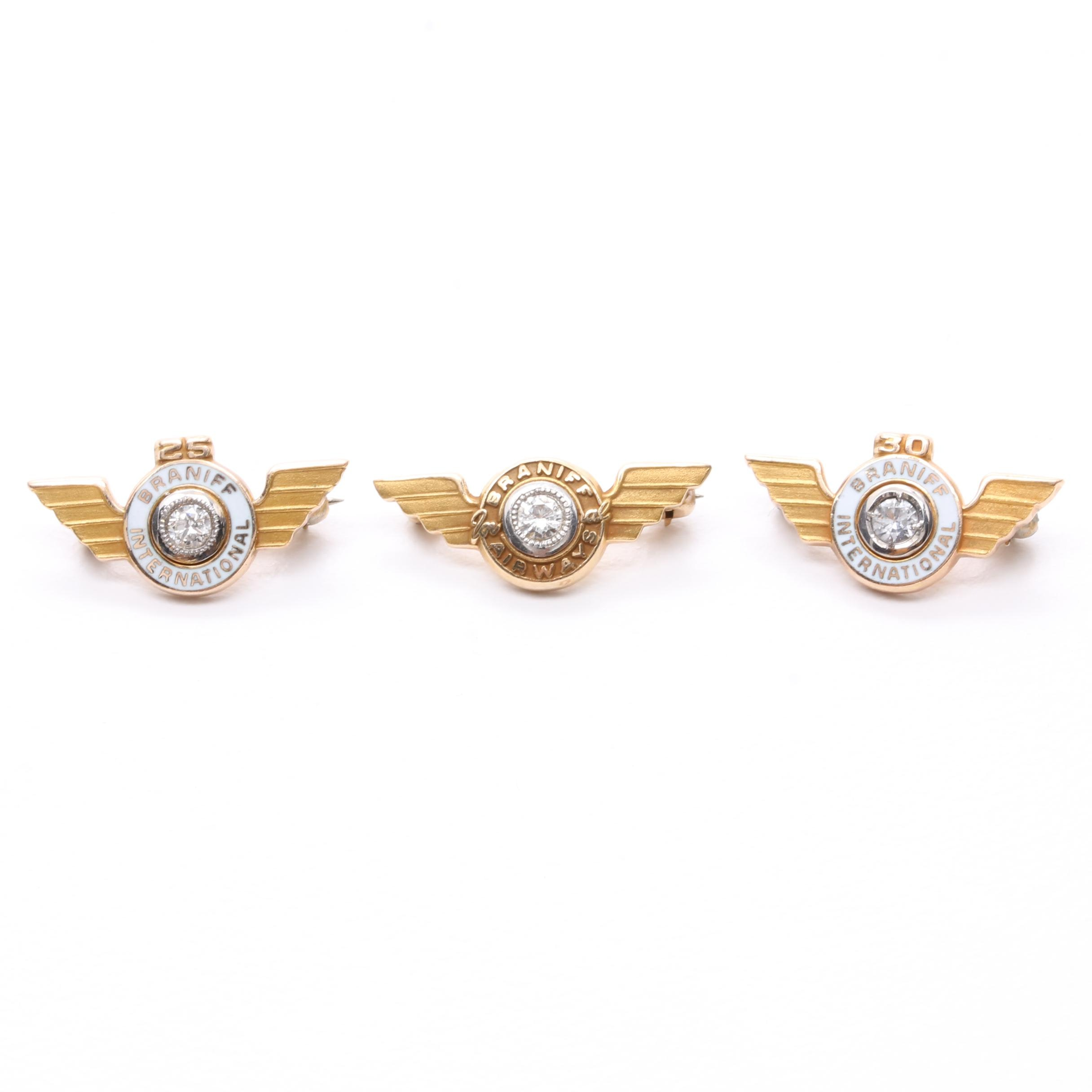 10K and 14K Yellow Gold Braniff Airways Diamond and Spinel Lapel Pins